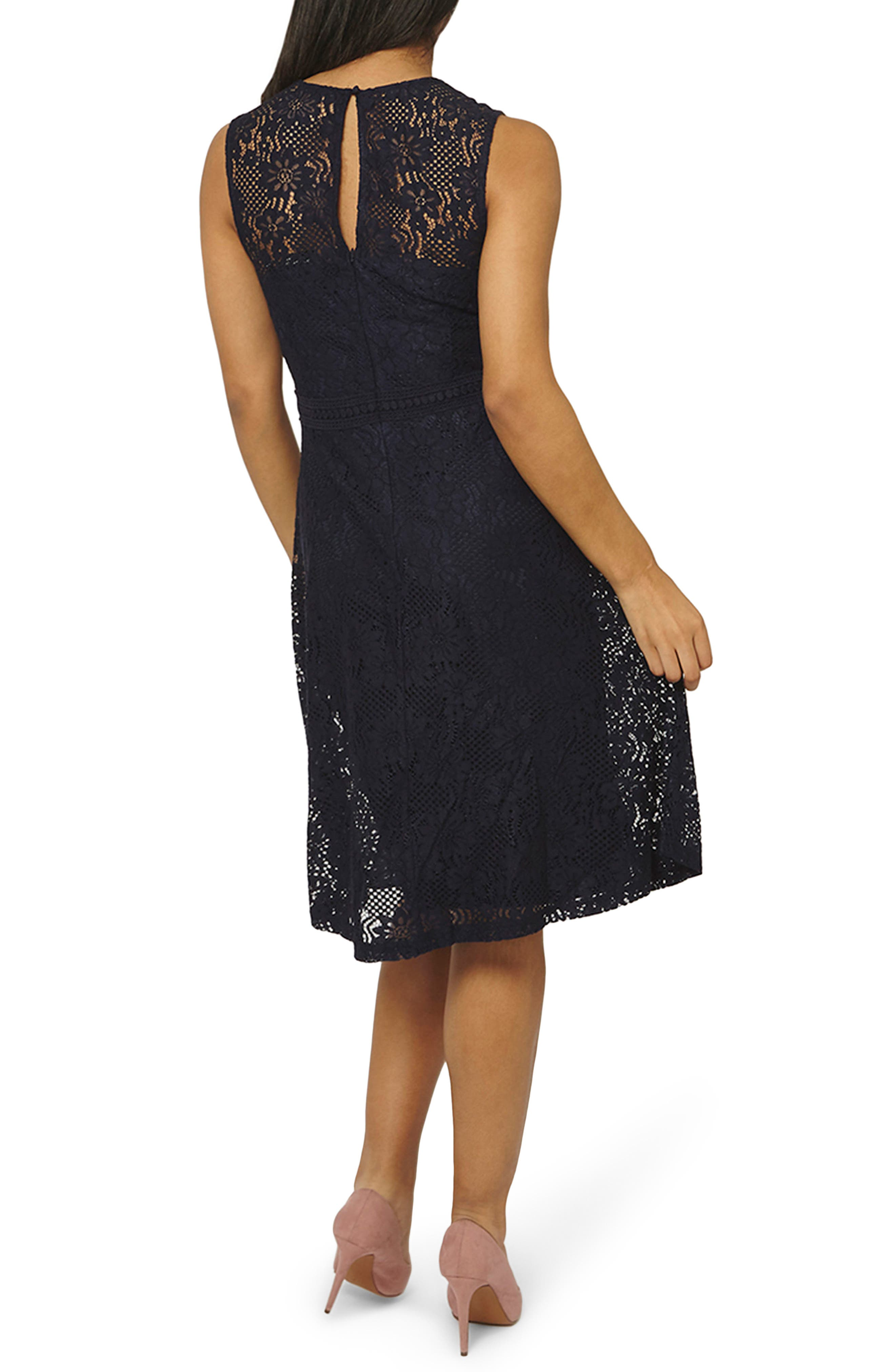 Adele Lace Fit & Flare Dress,                             Alternate thumbnail 2, color,                             Navy