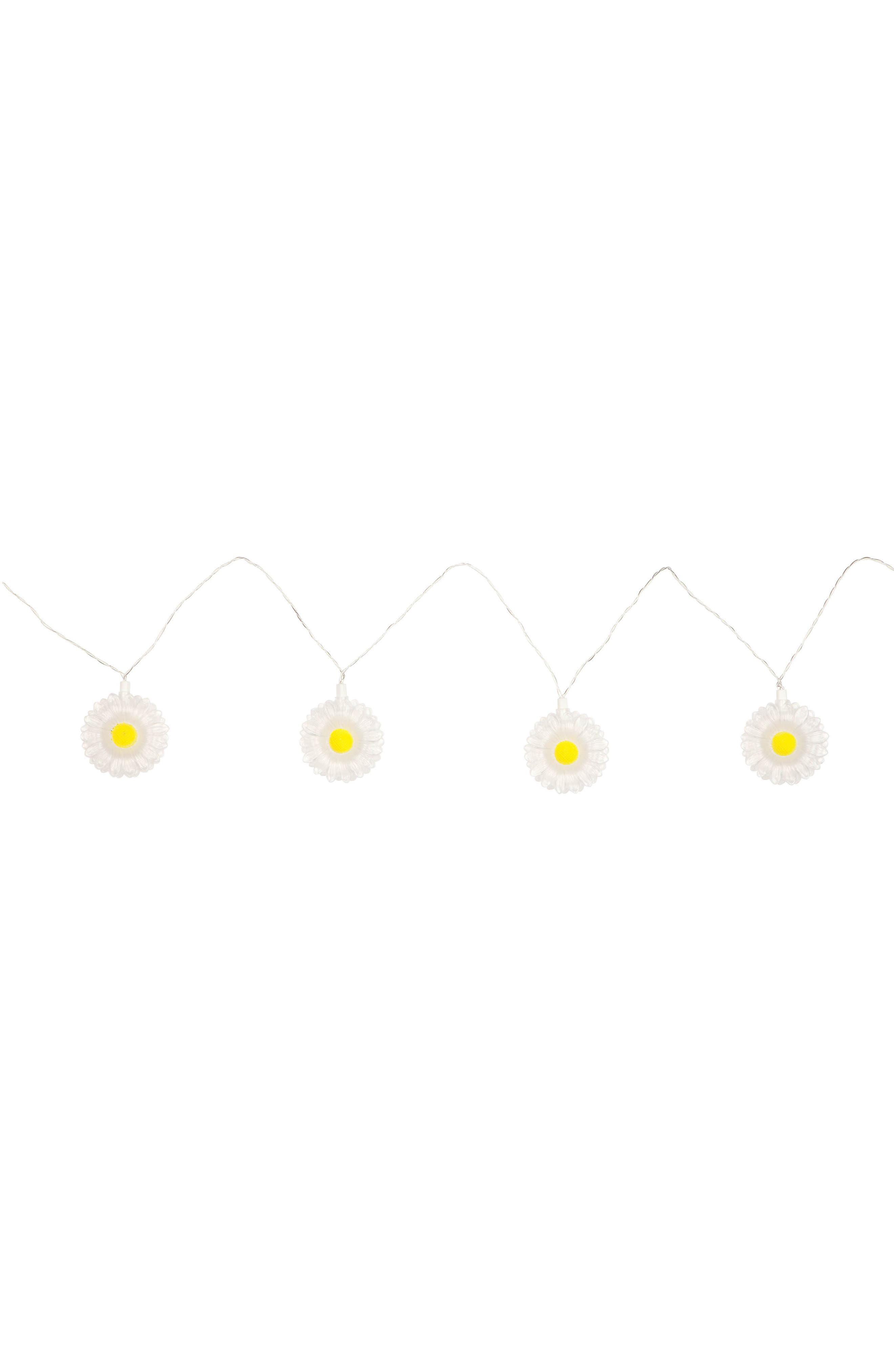 Daisy Battery Powered String Lights,                             Main thumbnail 1, color,                             White