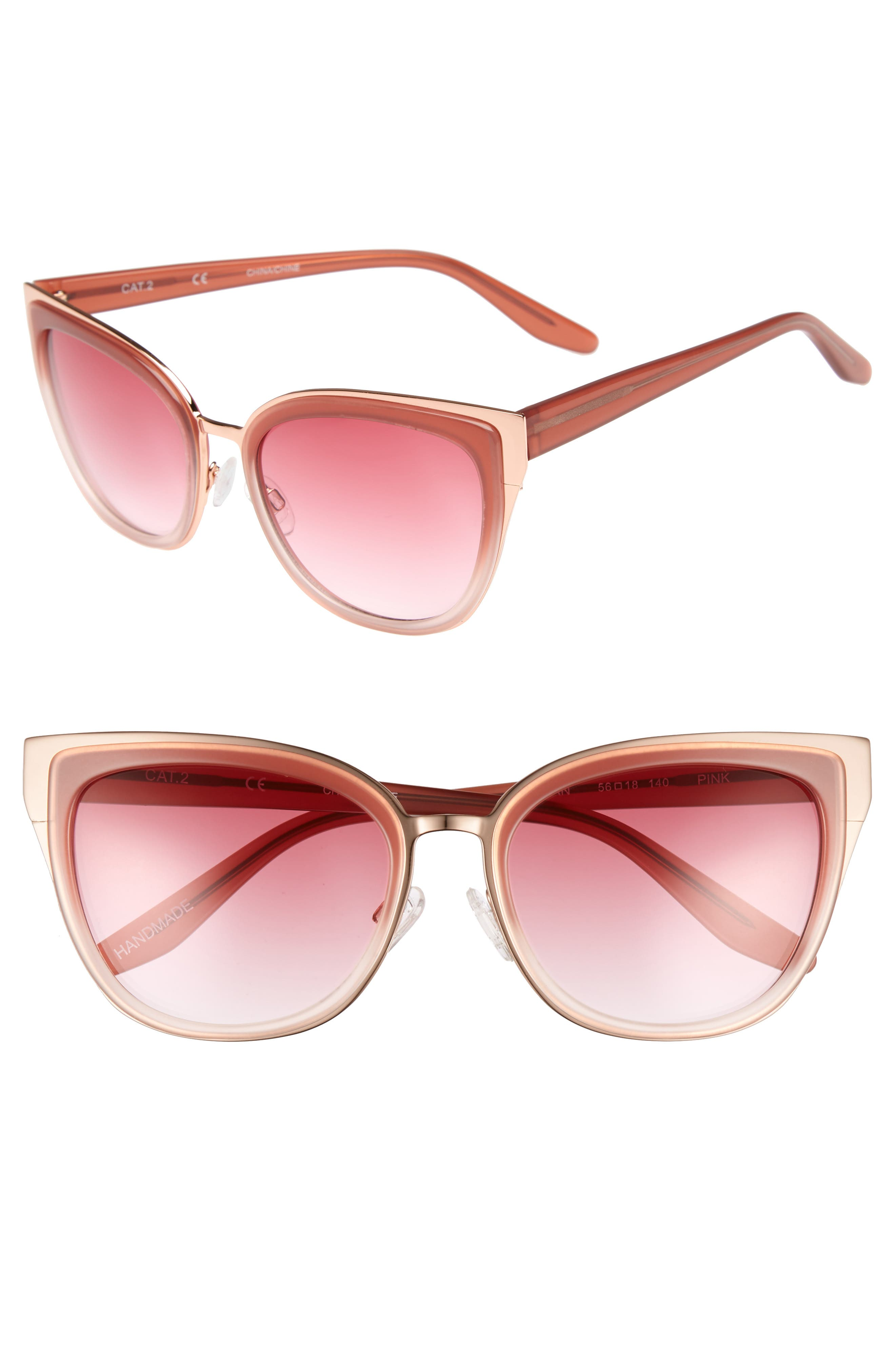 Lillian 56mm Sunglasses,                         Main,                         color, Milky Pink- Rose Gold