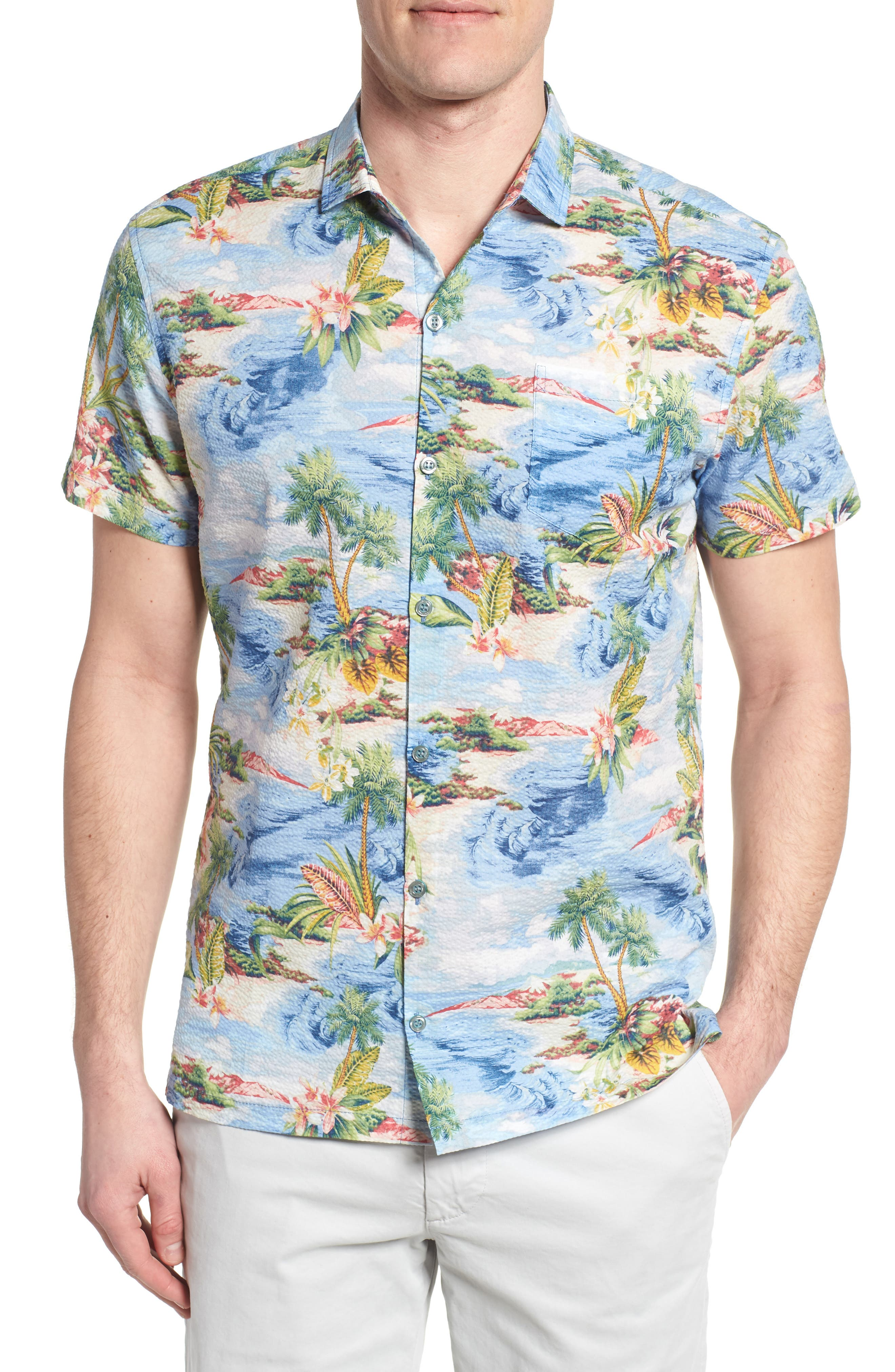 Private Isle Trim Fit Camp Shirt,                             Main thumbnail 1, color,                             Wave