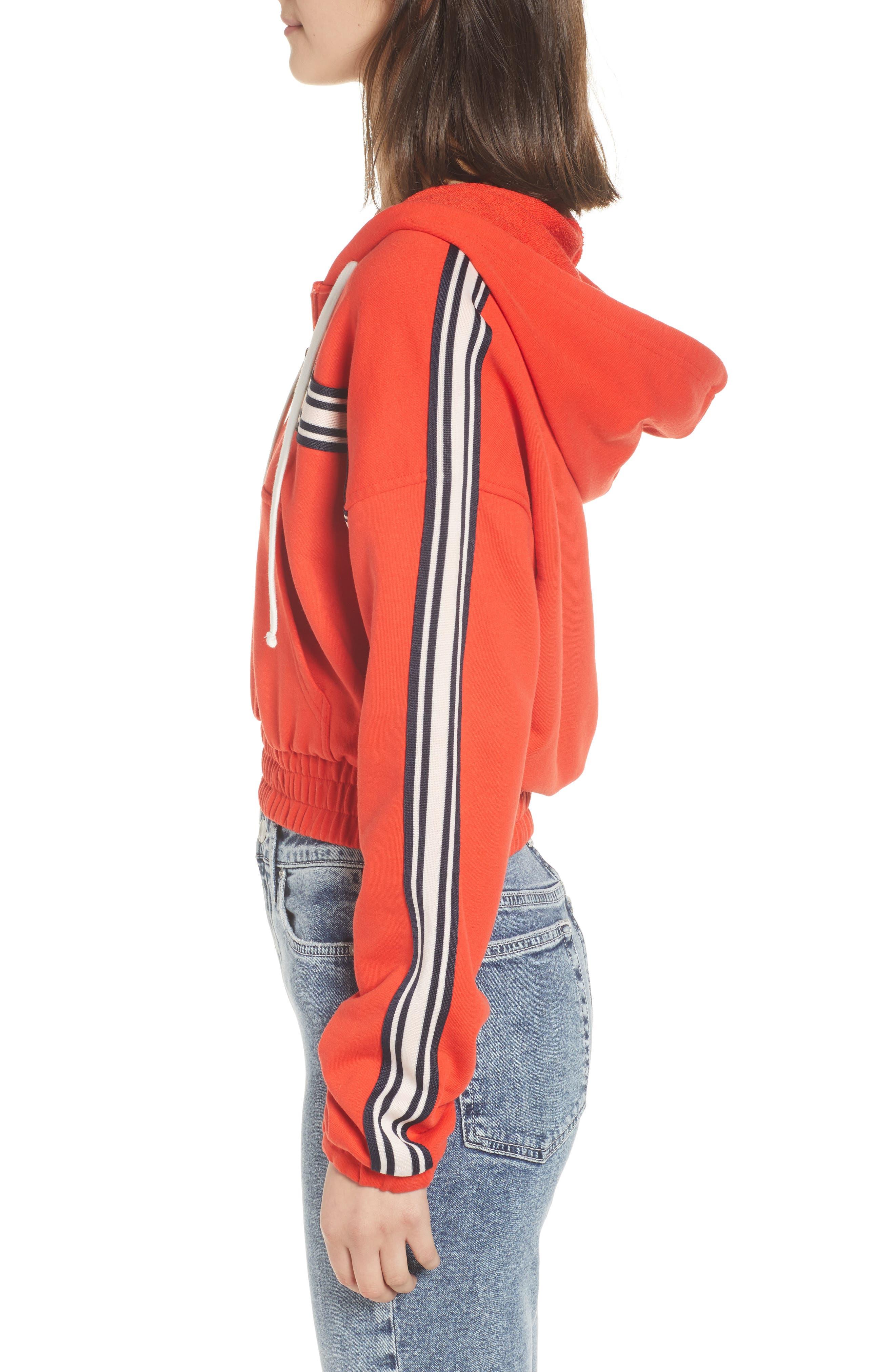 Stripe Half Zip Hoodie,                             Alternate thumbnail 3, color,                             City Rouge