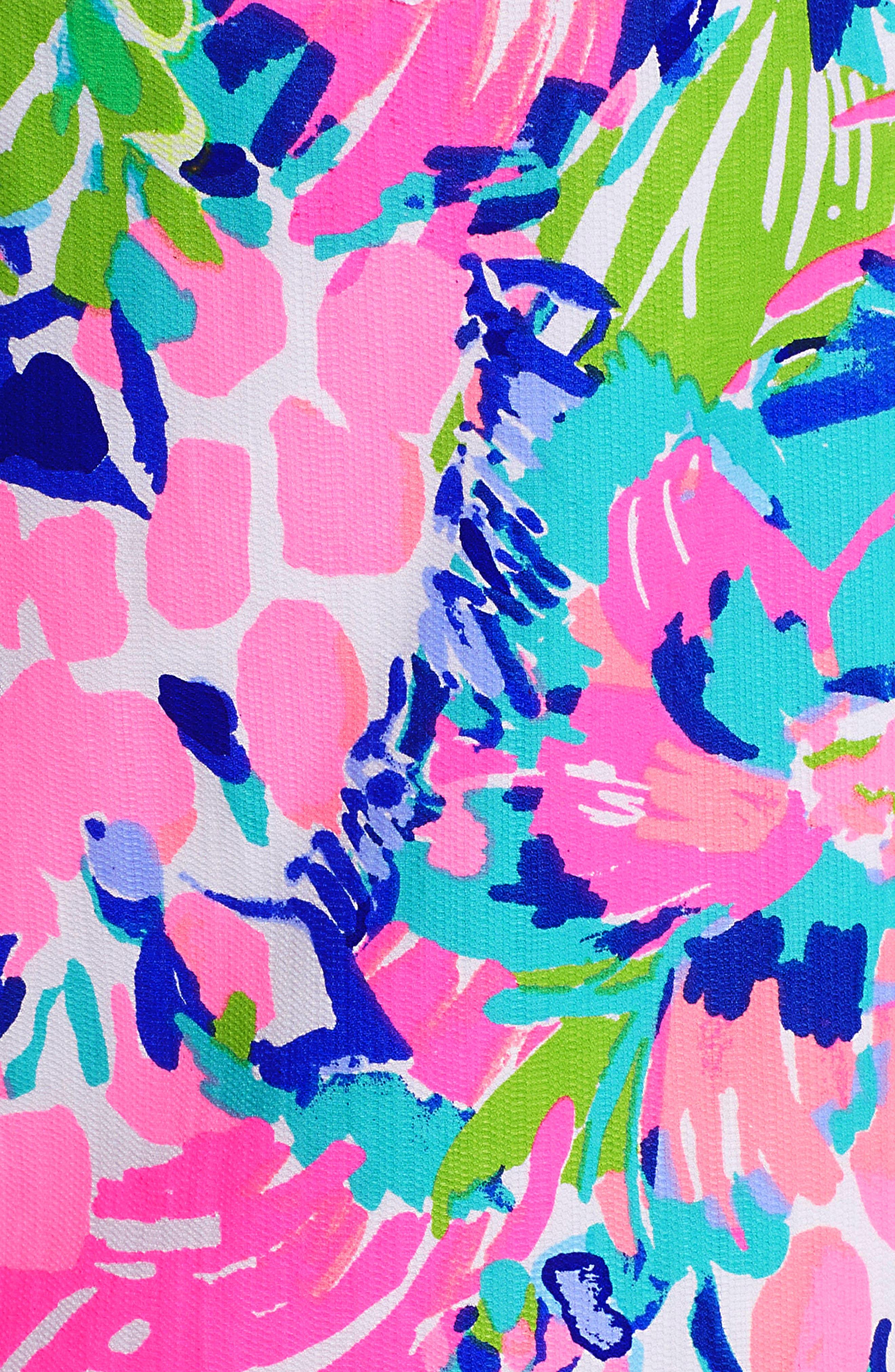 Gabby Tropical Print Dress,                             Alternate thumbnail 6, color,                             Multi Gumbo Limbo