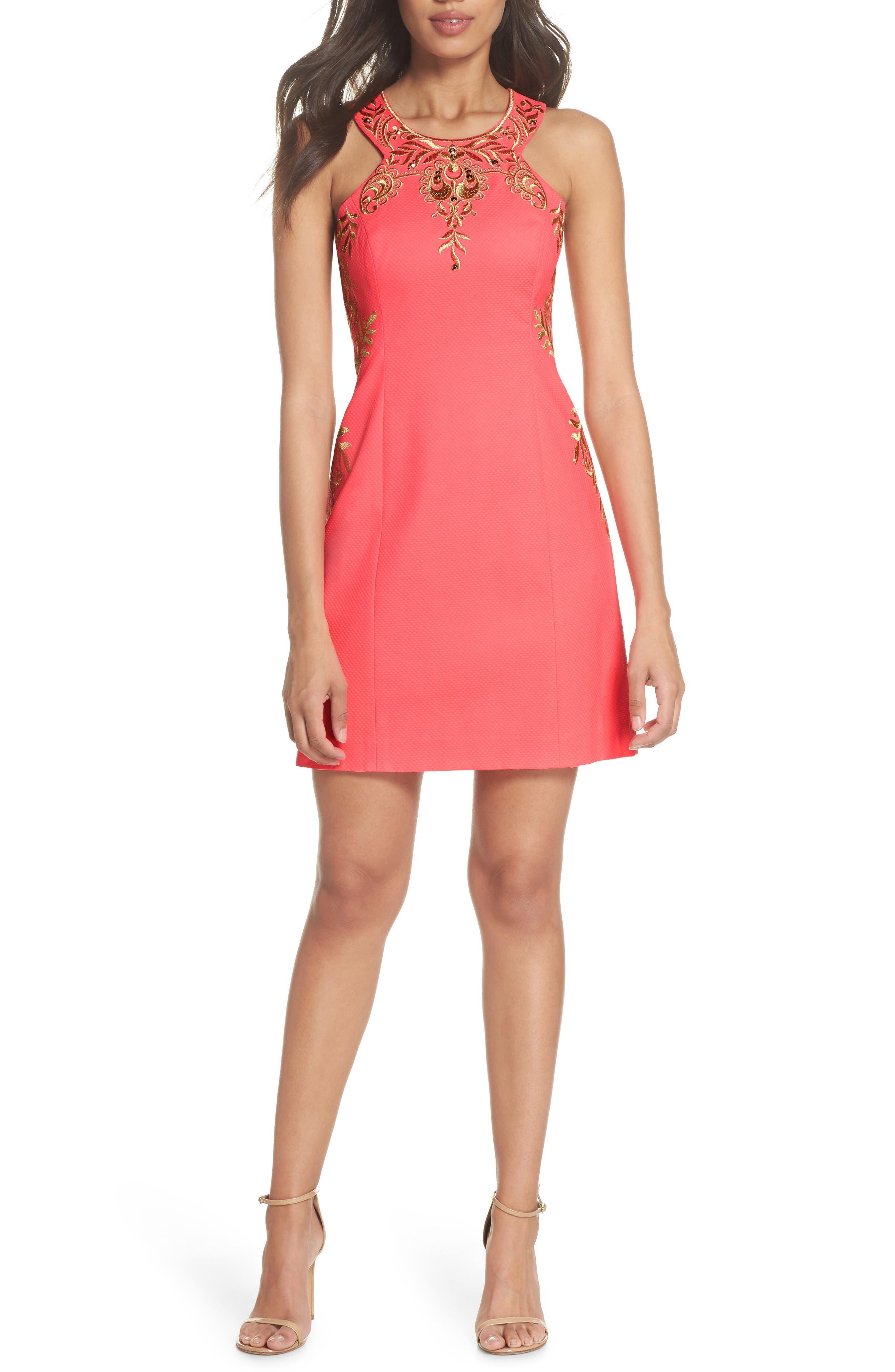 Tina Embroidered Sheath Dress,                         Main,                         color, Coral Suns