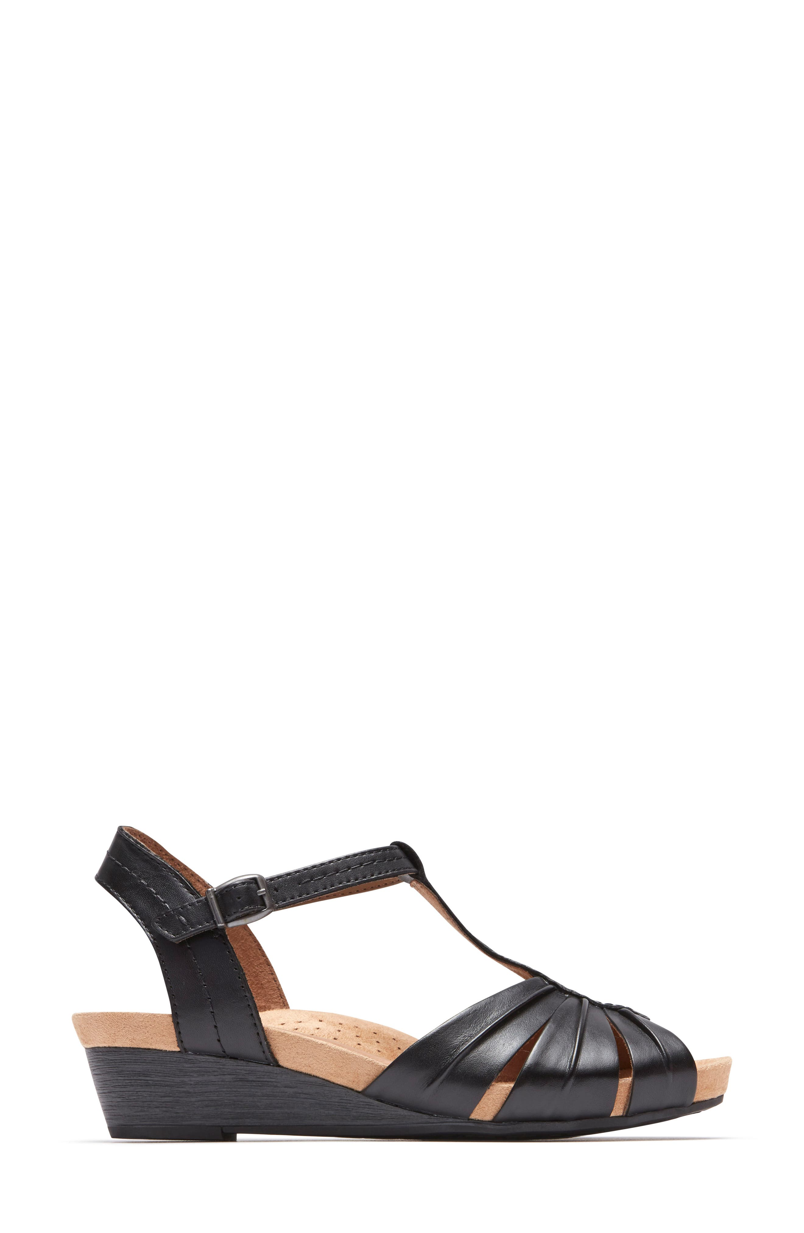 Hollywood Pleat Wedge Sandal,                             Alternate thumbnail 5, color,                             Black Leather