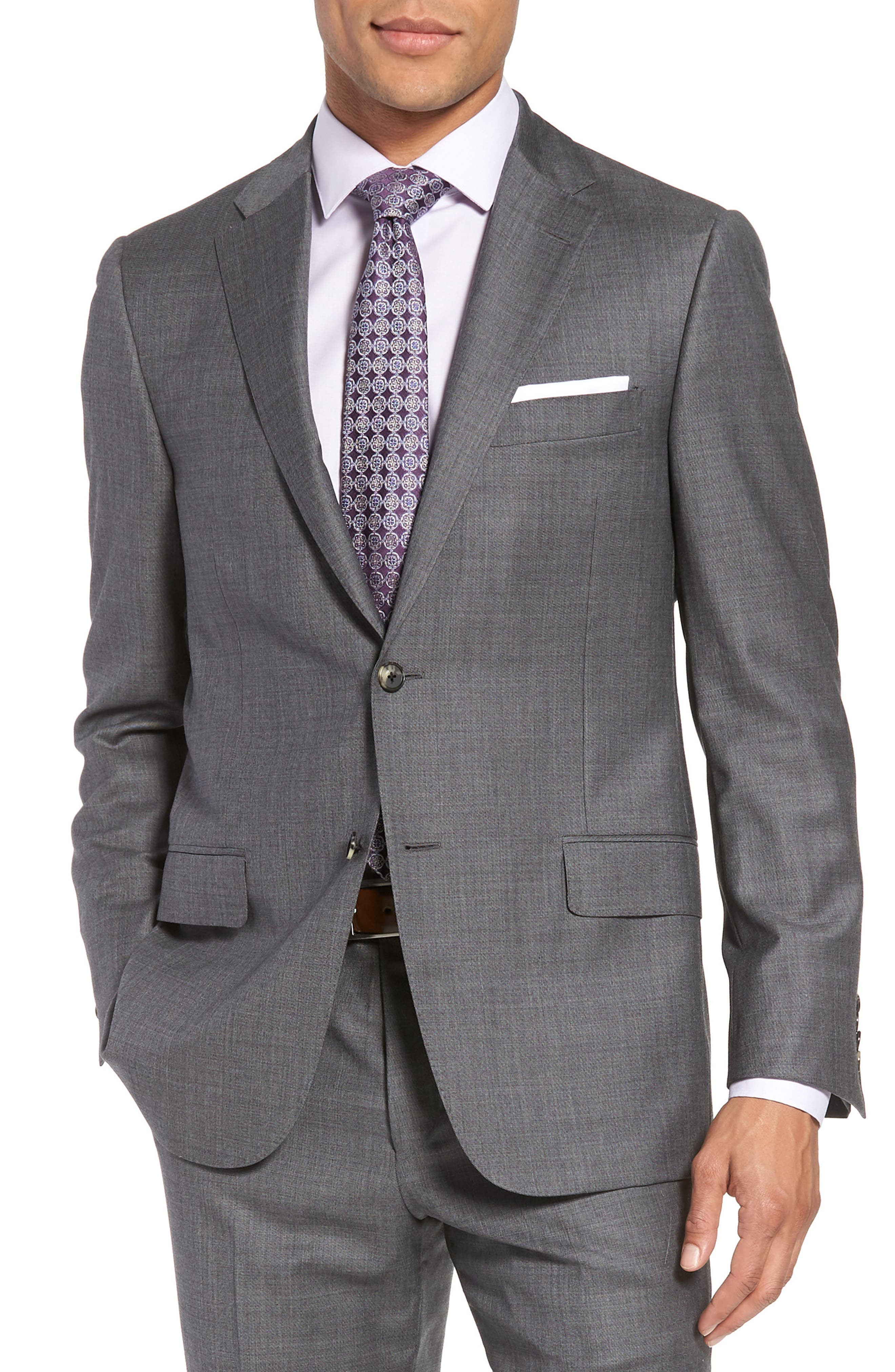 Classic B Fit Solid Wool Suit,                             Alternate thumbnail 5, color,                             Grey Sharkskin