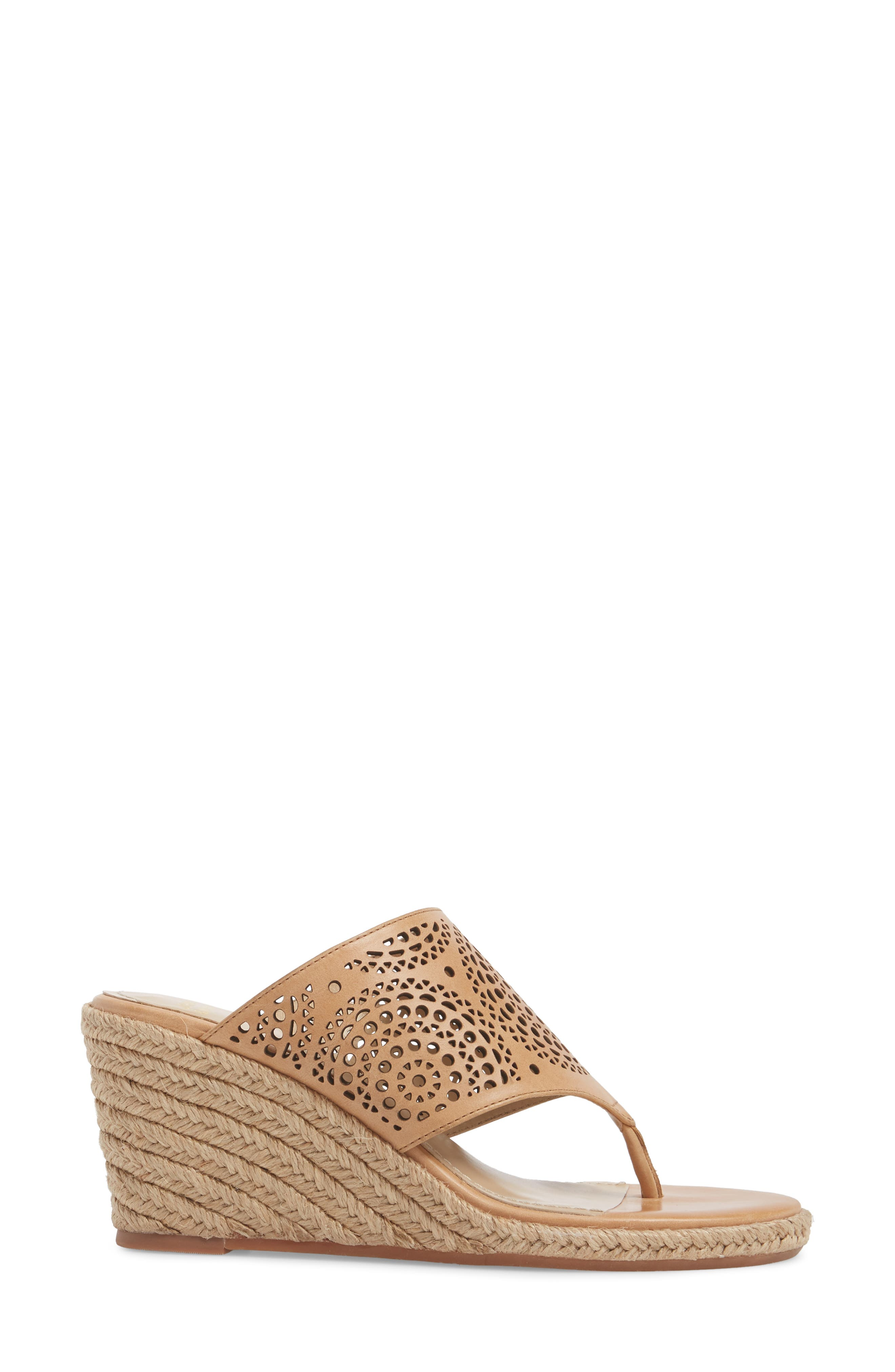 Gina Wedge Sandal,                             Alternate thumbnail 3, color,                             Tan Leather