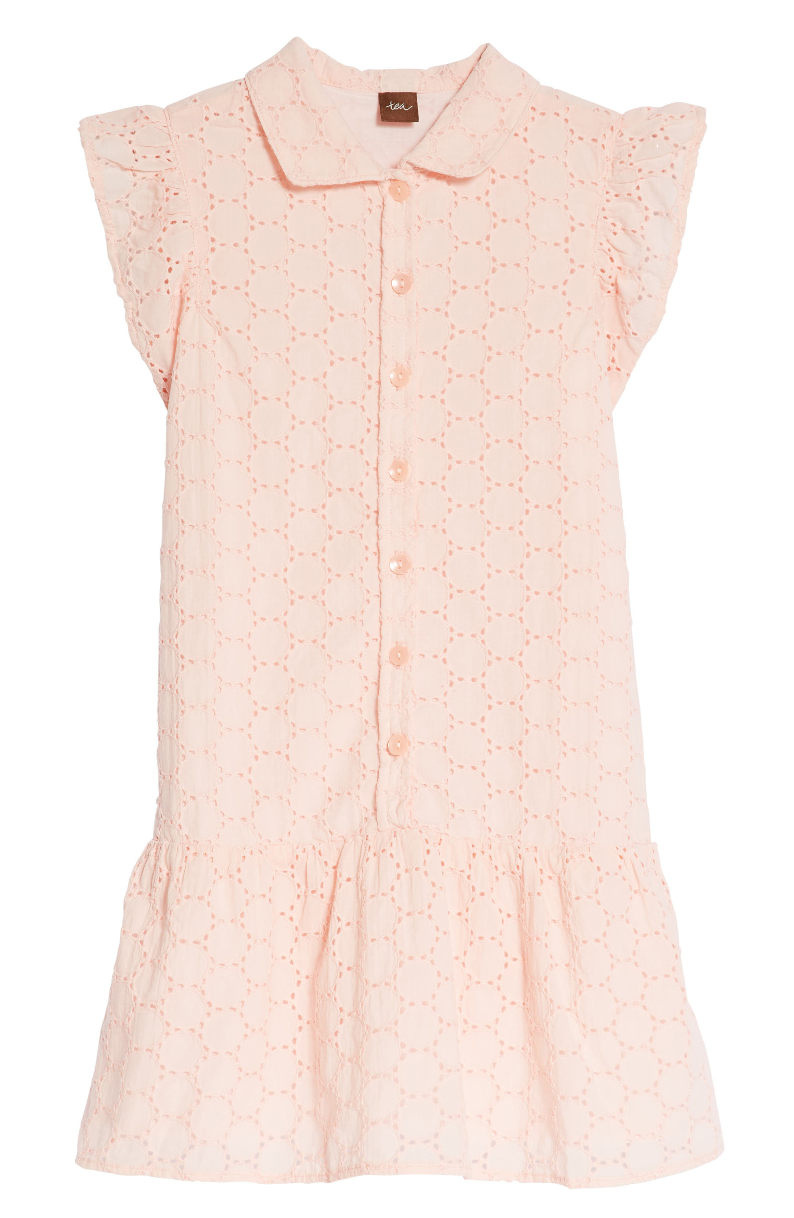 Eyelet Woven Dress,                             Main thumbnail 1, color,                             Pink Gloss