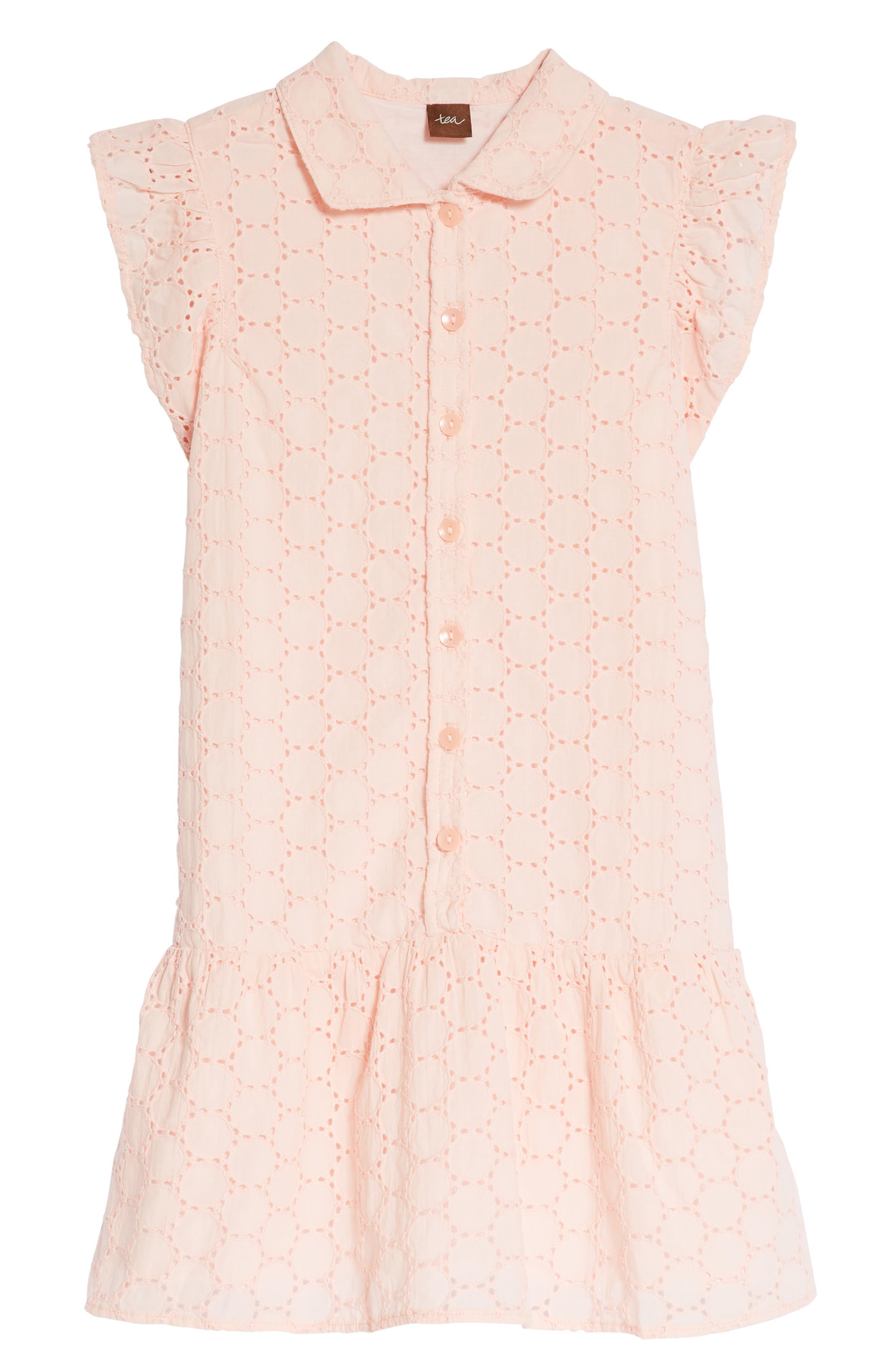 Eyelet Woven Dress,                         Main,                         color, Pink Gloss