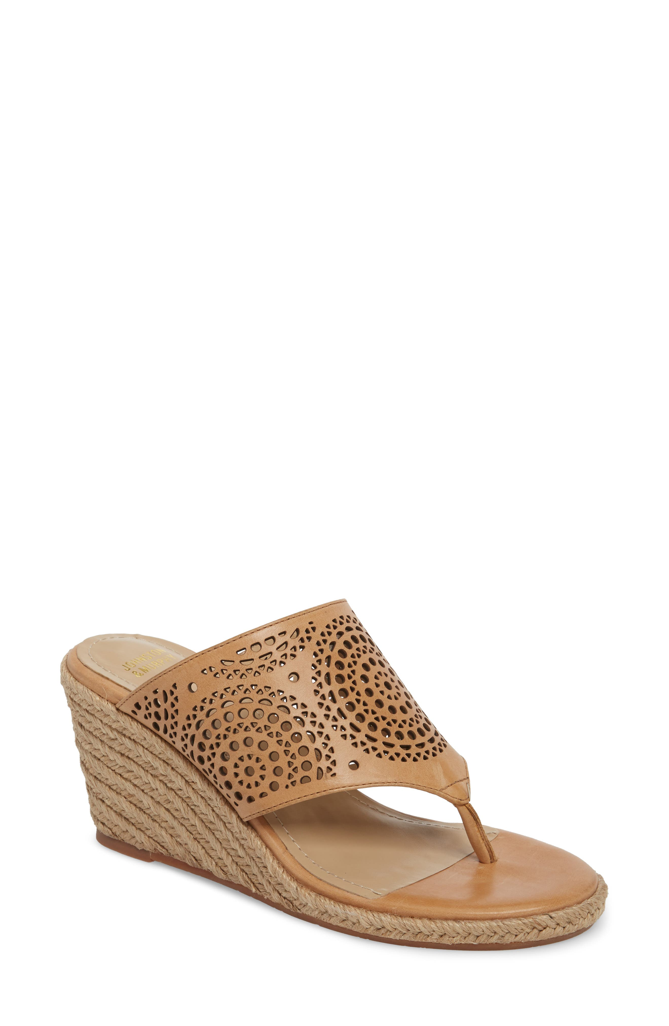 Gina Wedge Sandal,                         Main,                         color, Tan Leather