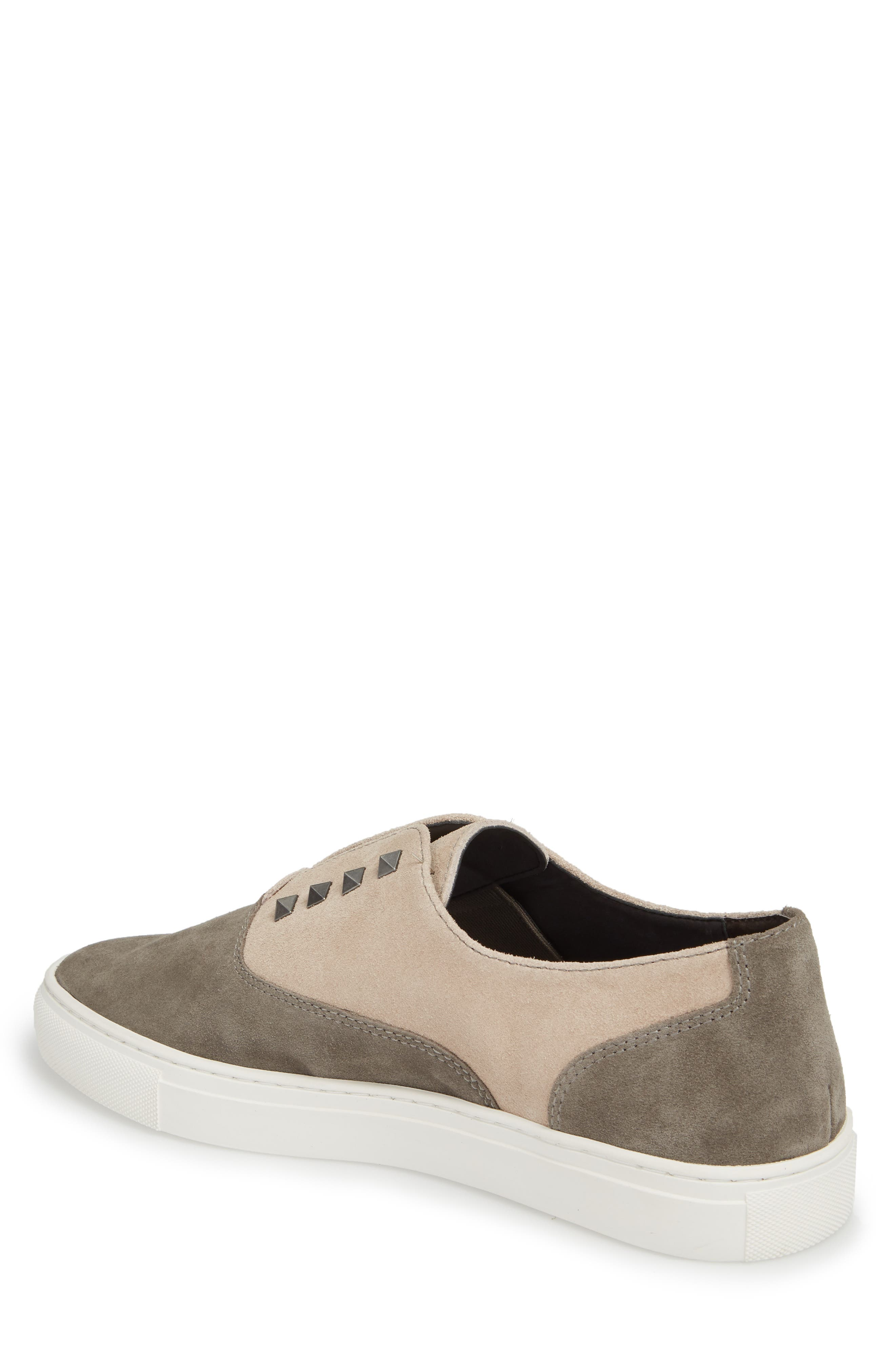 Aryo Studded Laceless Sneaker,                             Alternate thumbnail 2, color,                             Chocolate/ Sand Suede