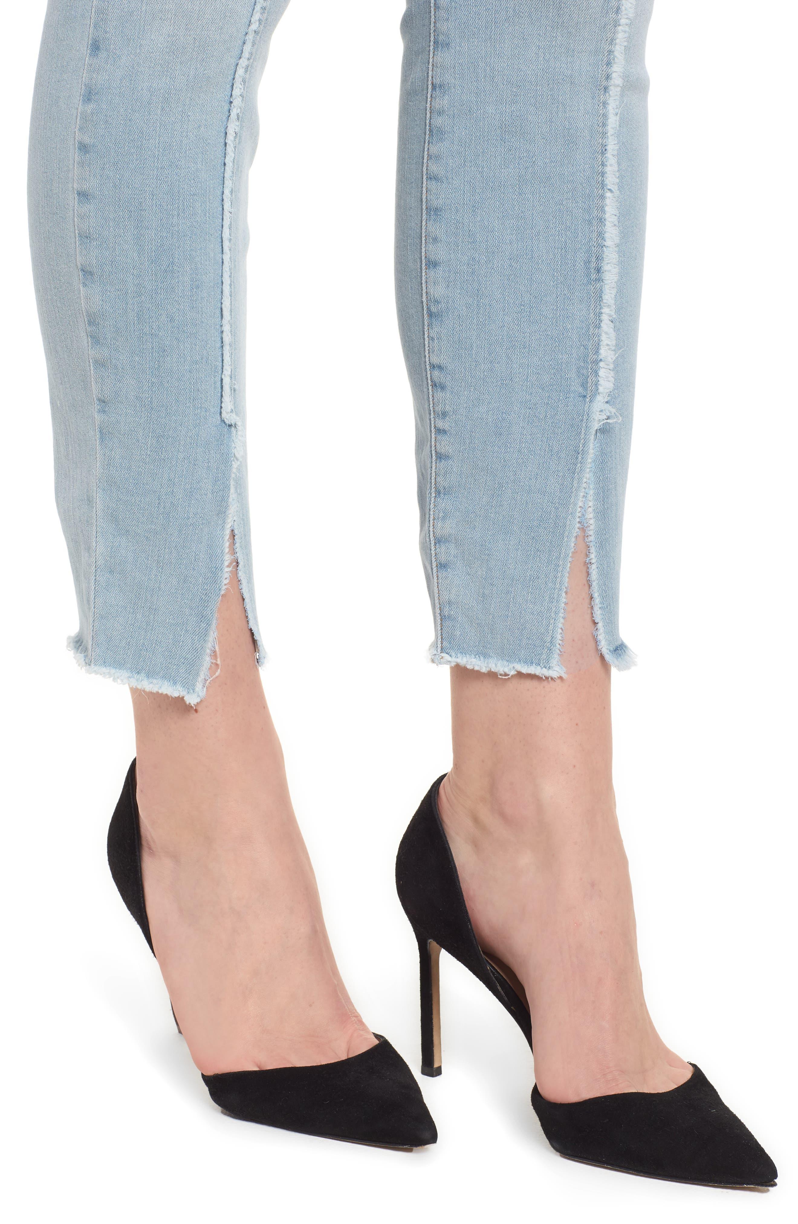 Good Legs High Waist Raw Seam Crop Skinny Jeans,                             Alternate thumbnail 4, color,                             Blue136