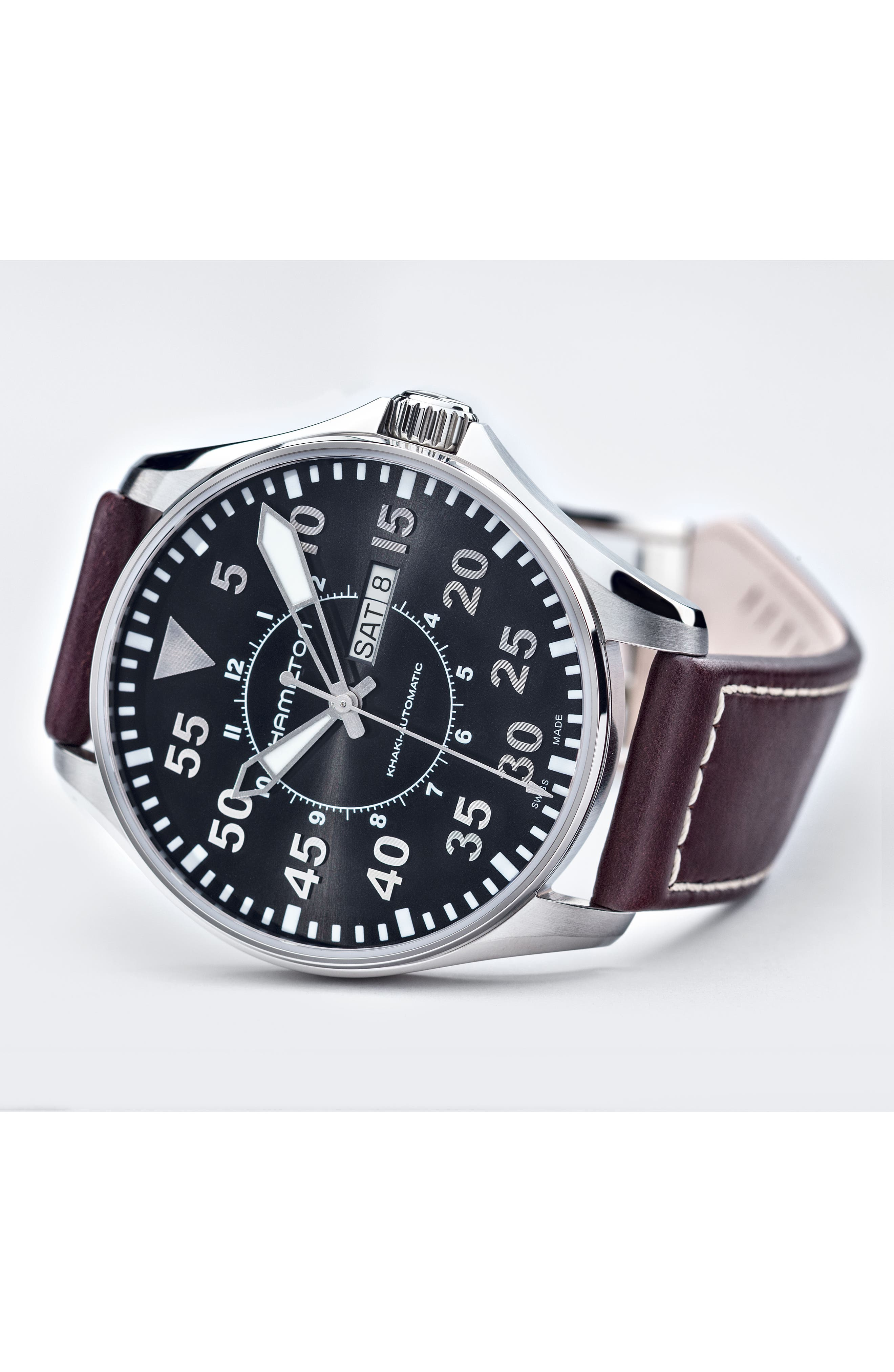Khaki Aviation Automatic Leather Strap Watch, 46mm,                             Alternate thumbnail 3, color,                             Brown/ Black/ Silver