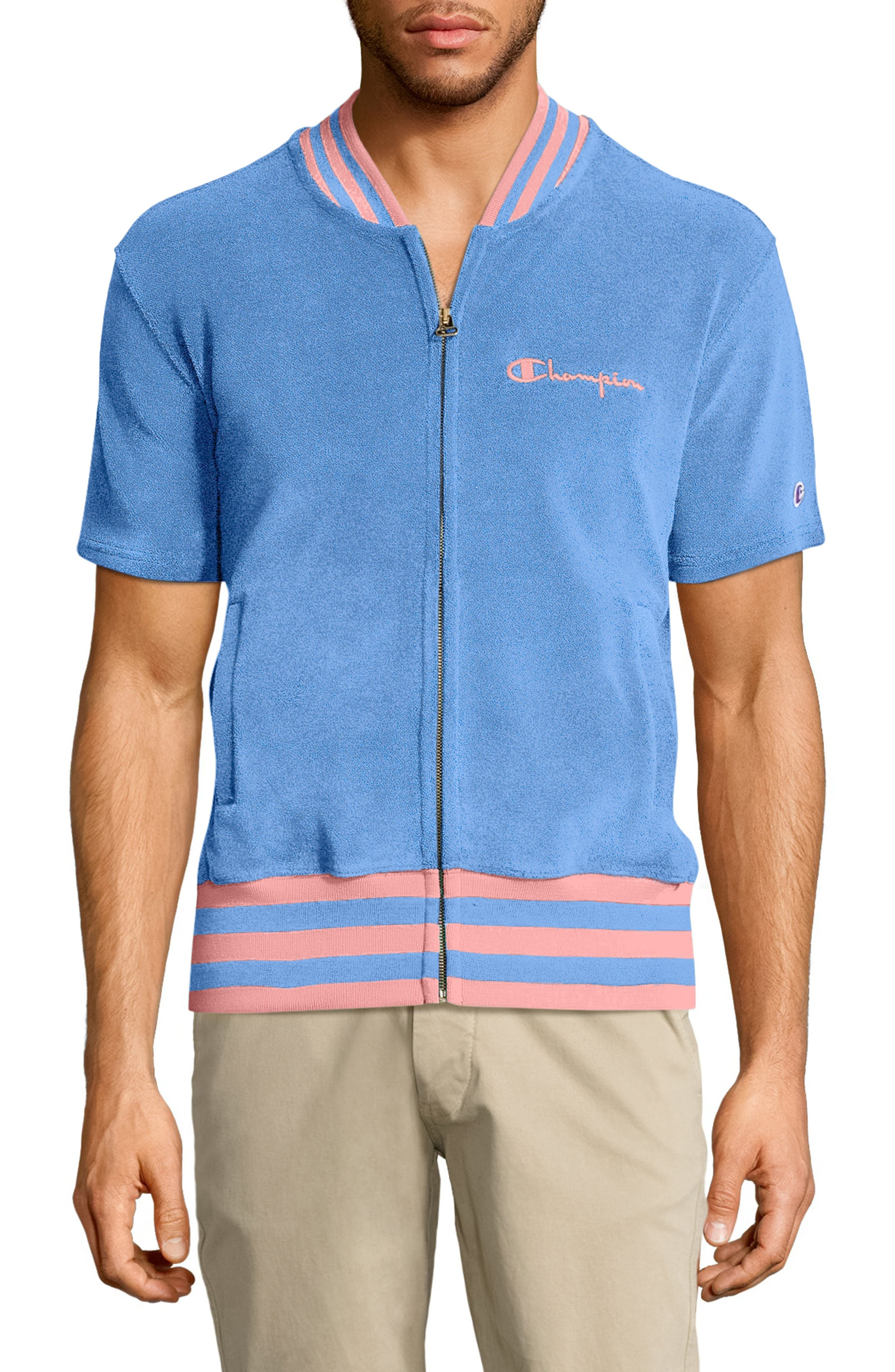 Sponge Terry Stripe Full Zip Sweatshirt,                             Main thumbnail 1, color,                             Swiss Blue