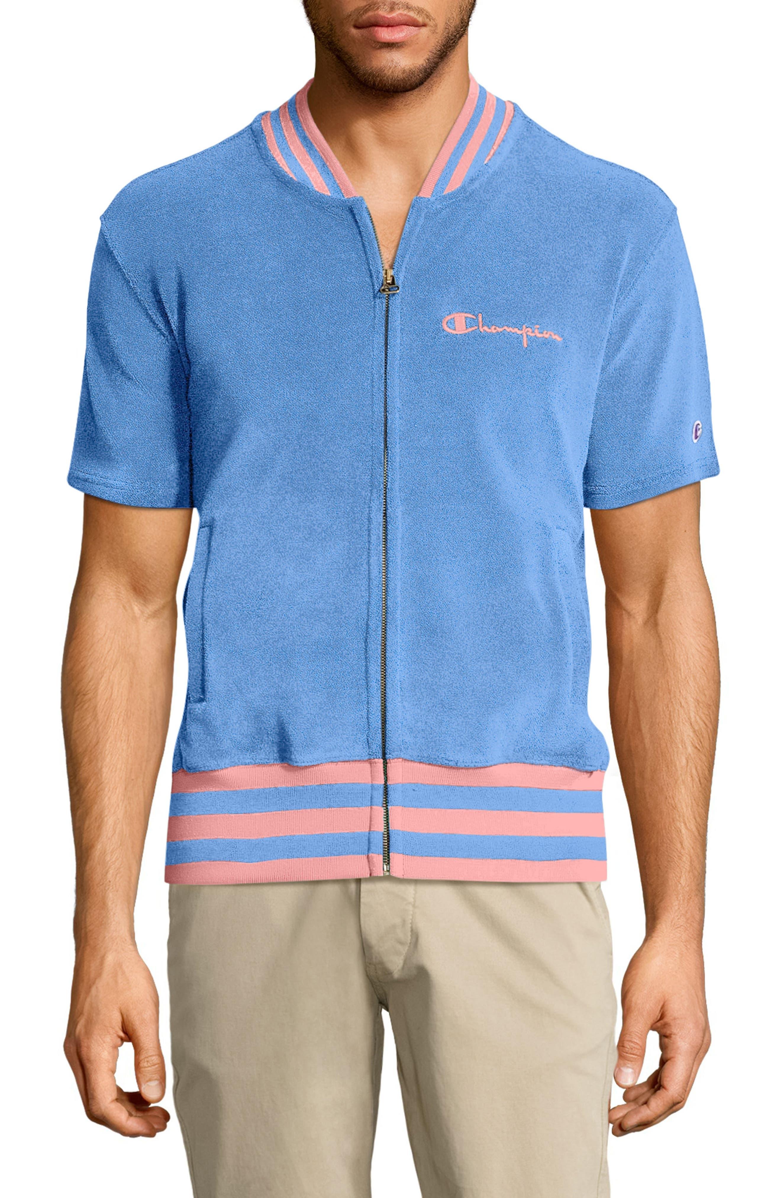 Sponge Terry Stripe Full Zip Sweatshirt,                         Main,                         color, Swiss Blue