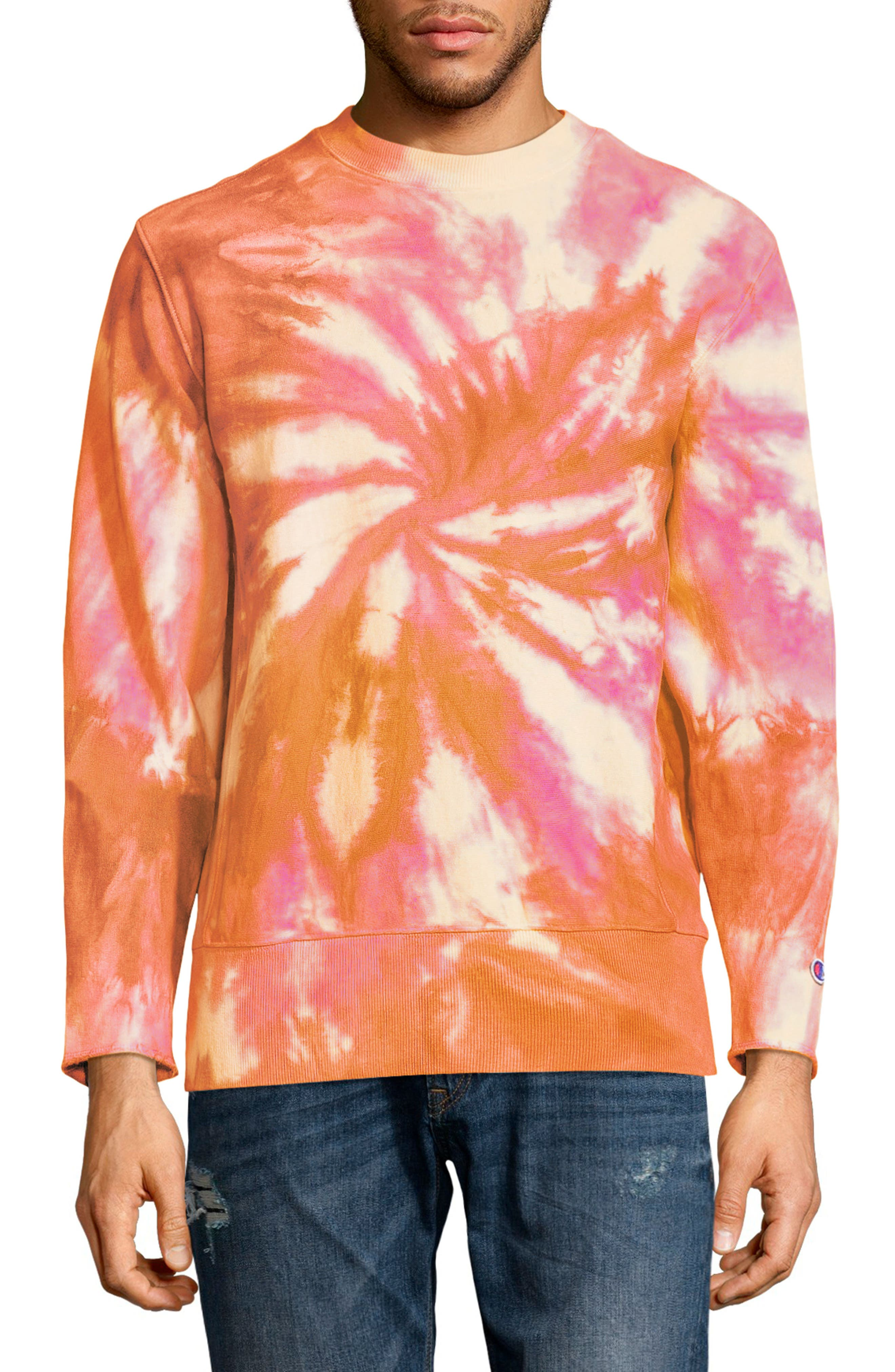 Reverse Weave Tie Dye T-Shirt,                             Main thumbnail 1, color,                             Glazed Orange