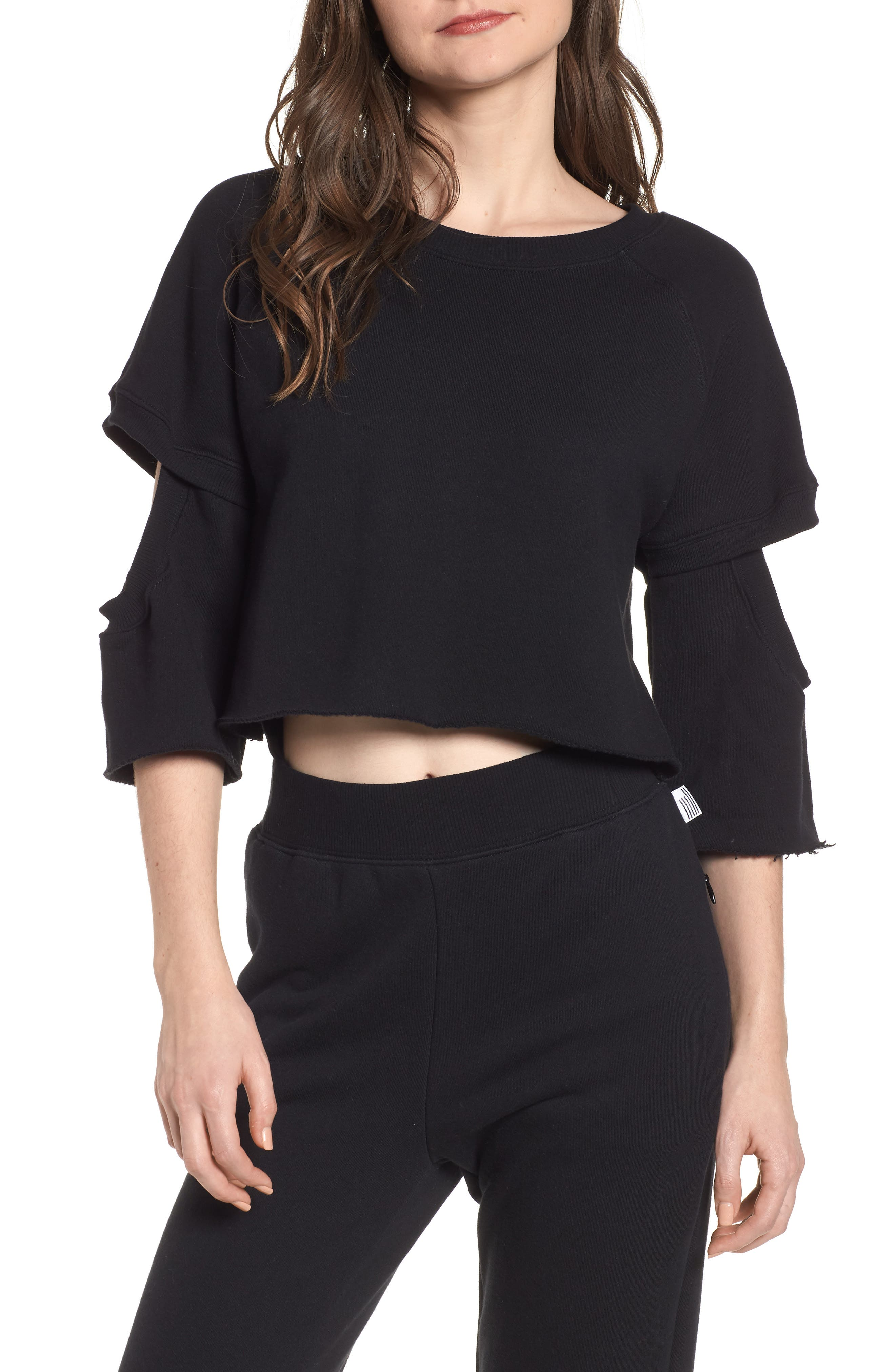 Good American Cutout Sleeve Crop Sweatshirt (Regular & Plus Size)