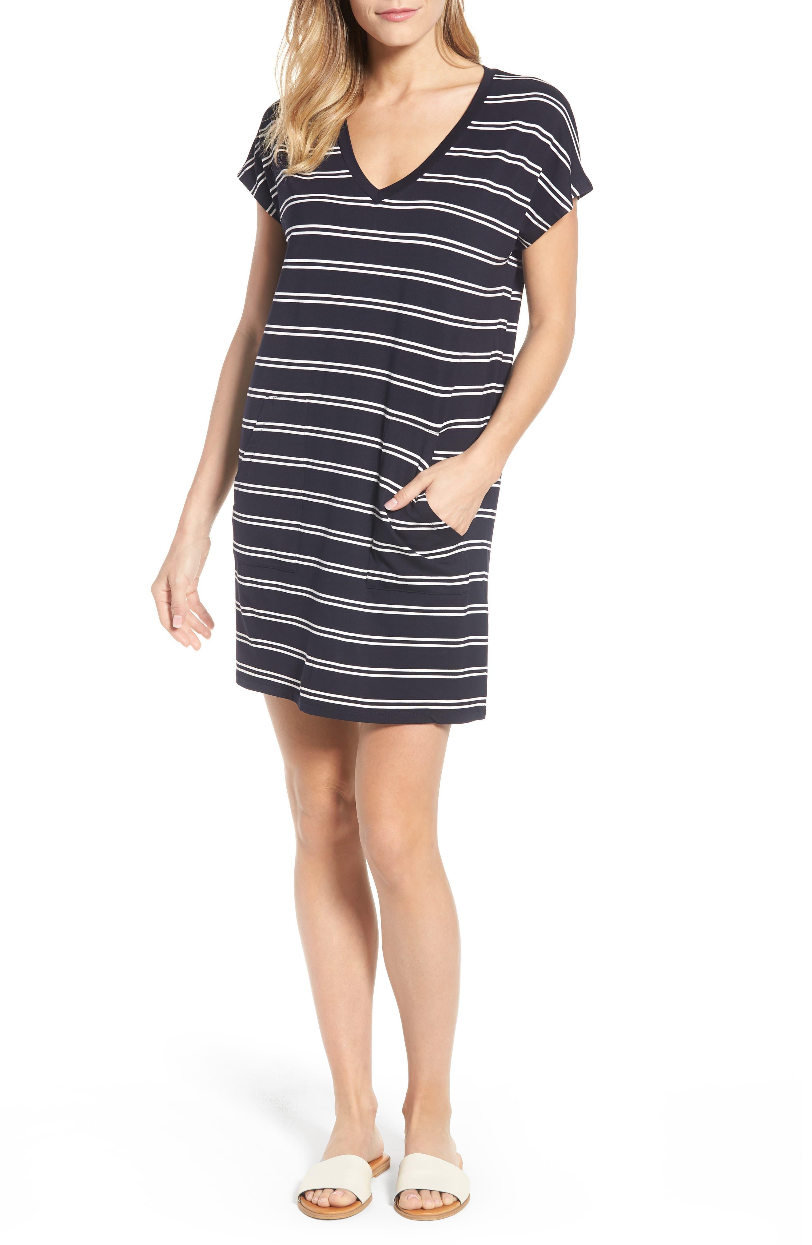Stripe T-Shirt Dress,                             Main thumbnail 1, color,                             Deepest Navy White