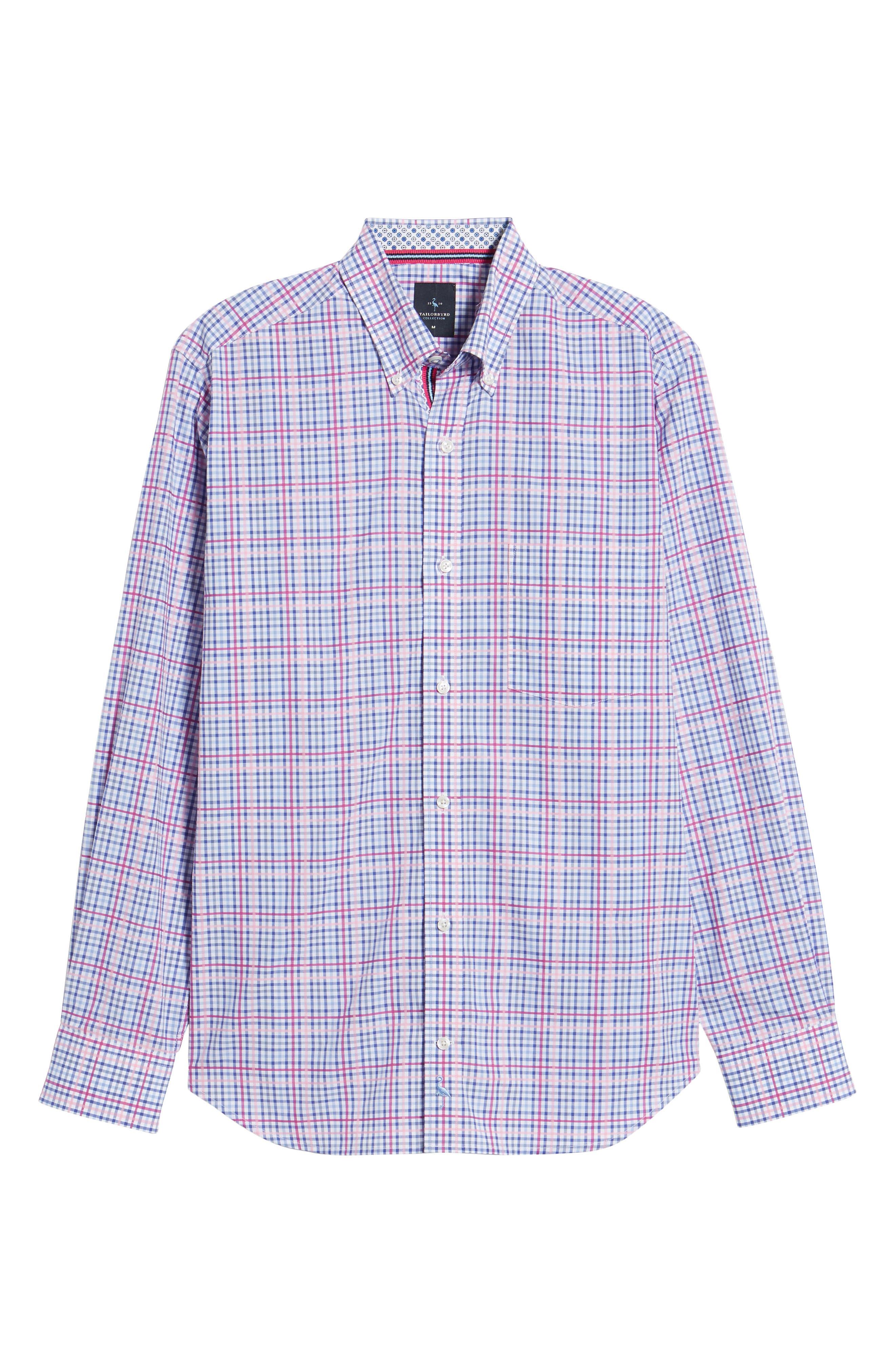 Aidren Regular Fit Plaid Sport Shirt,                             Alternate thumbnail 6, color,                             Pink