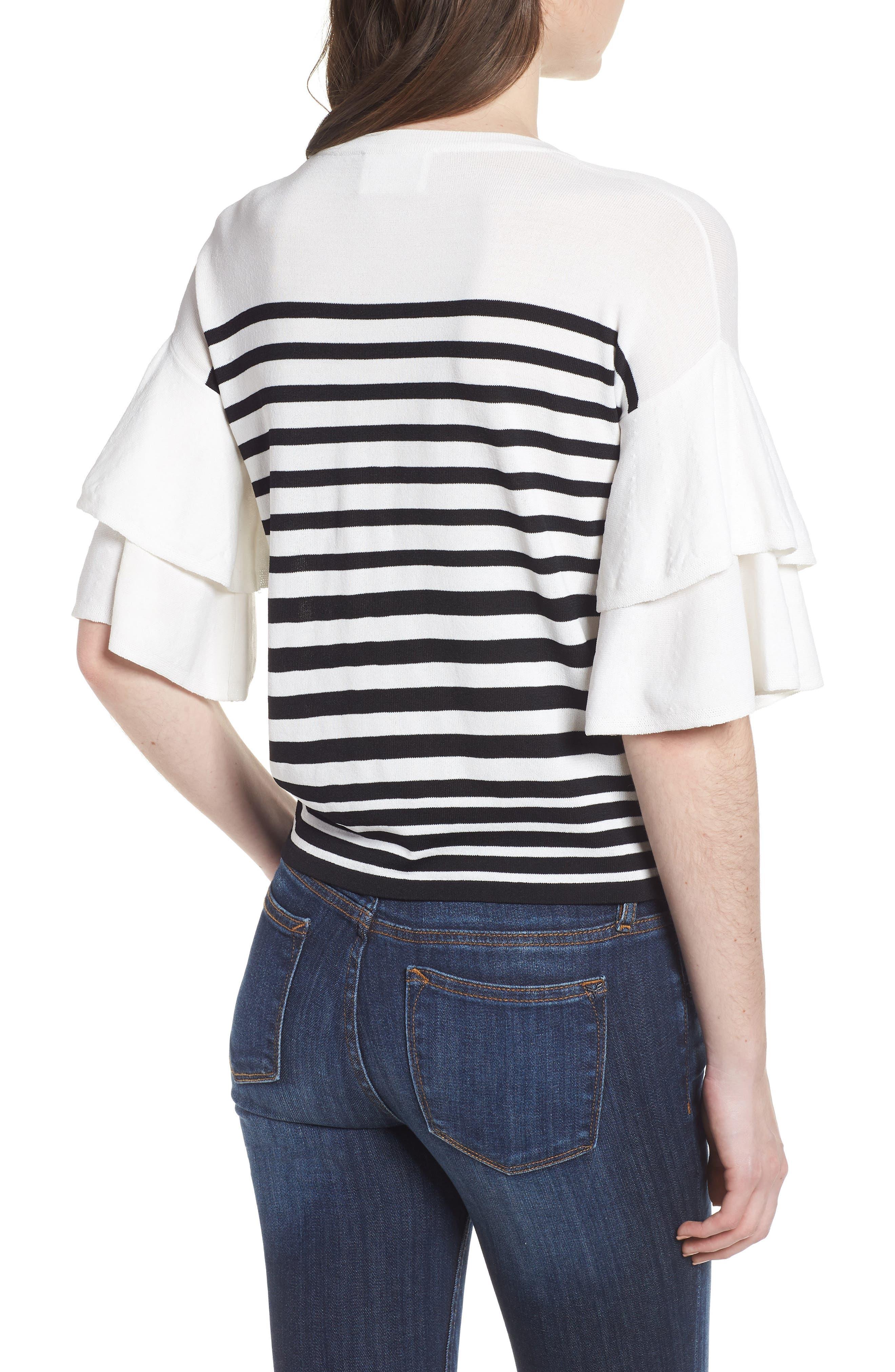Marin Stripe Ruffle Sleeve Sweater,                             Alternate thumbnail 2, color,                             White/Black