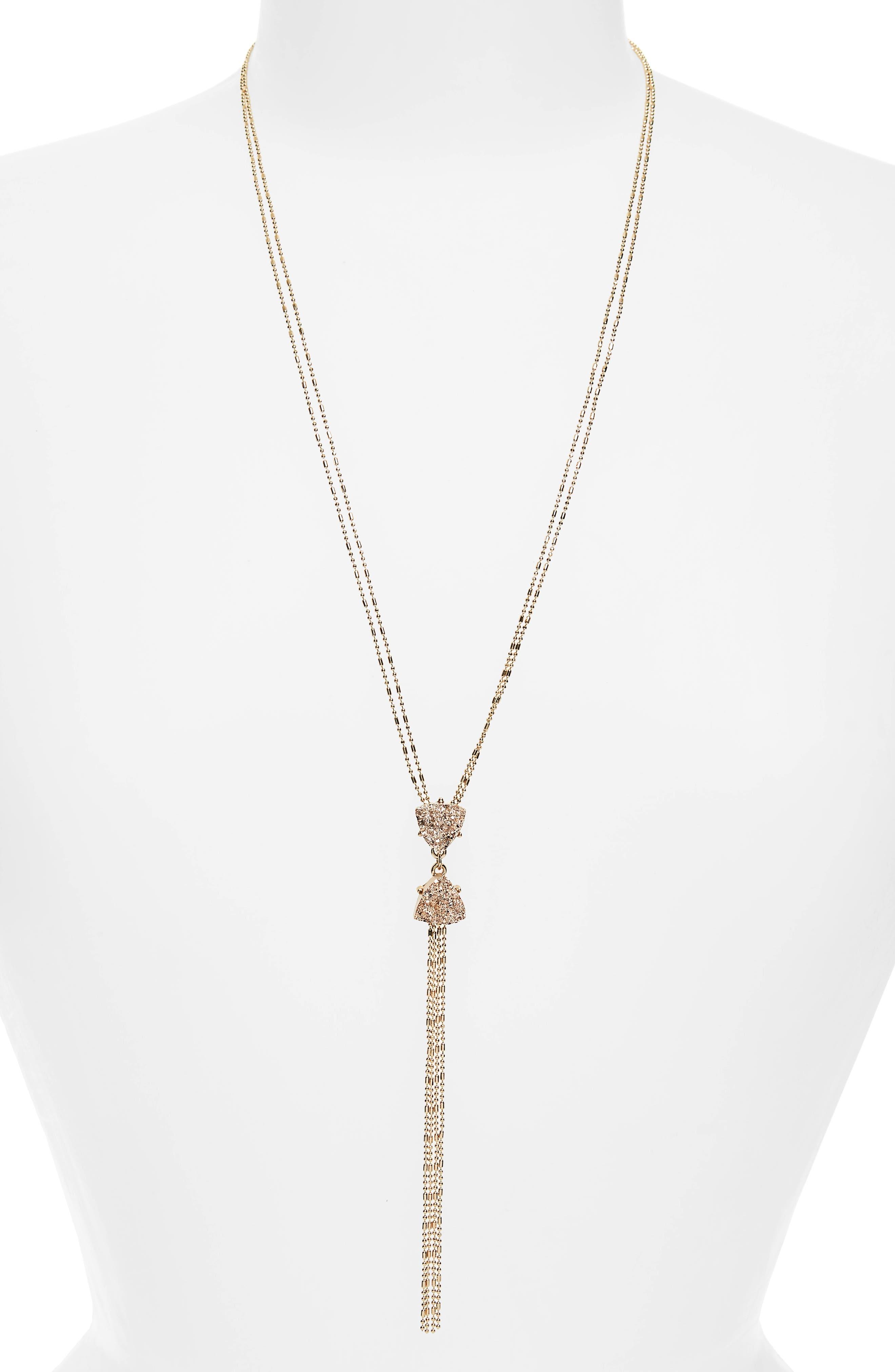 Y-Necklace,                         Main,                         color, Gold