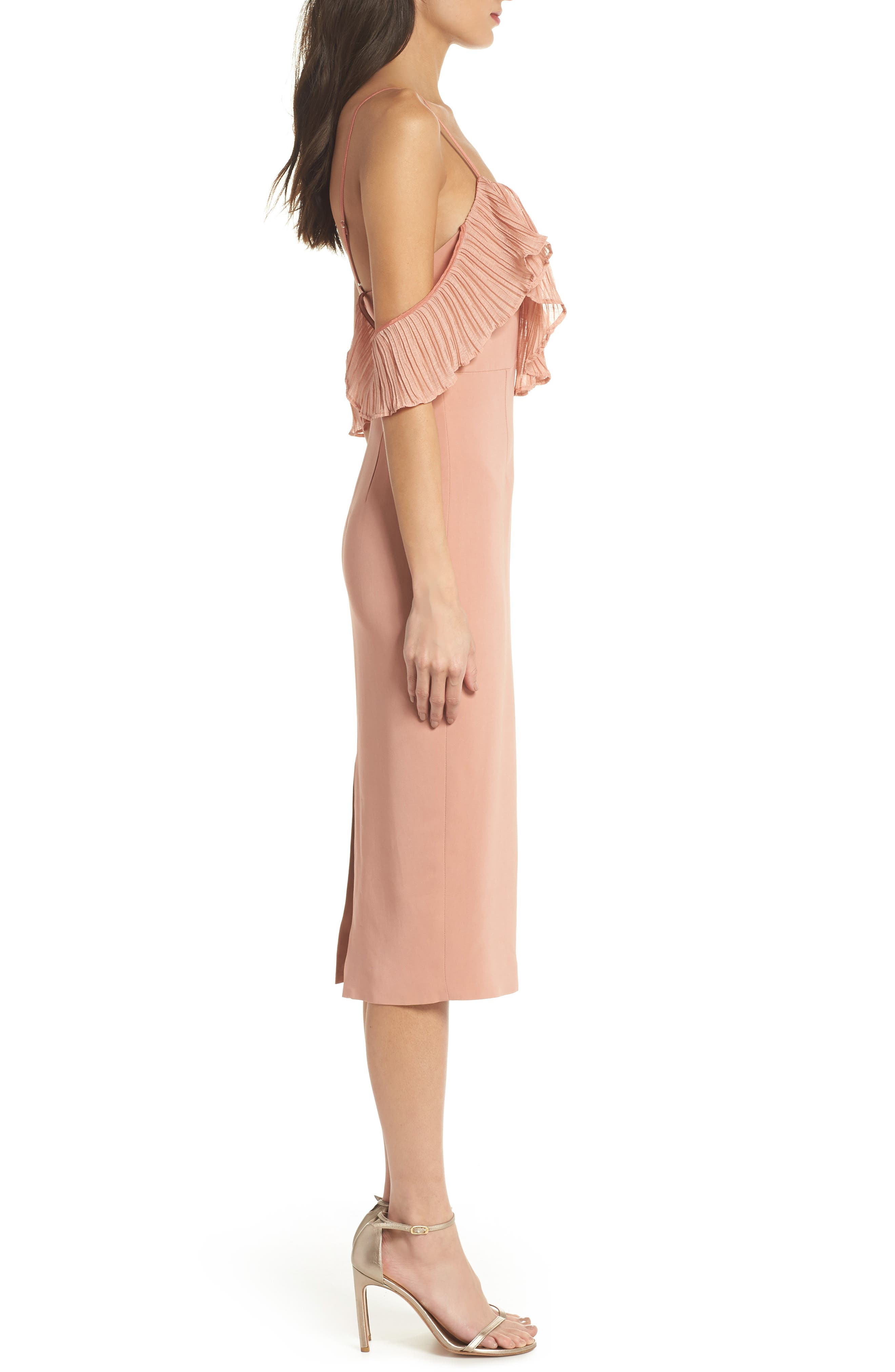 Charm Cold Shoulder Sheath Dress,                             Alternate thumbnail 3, color,                             Misty Rose