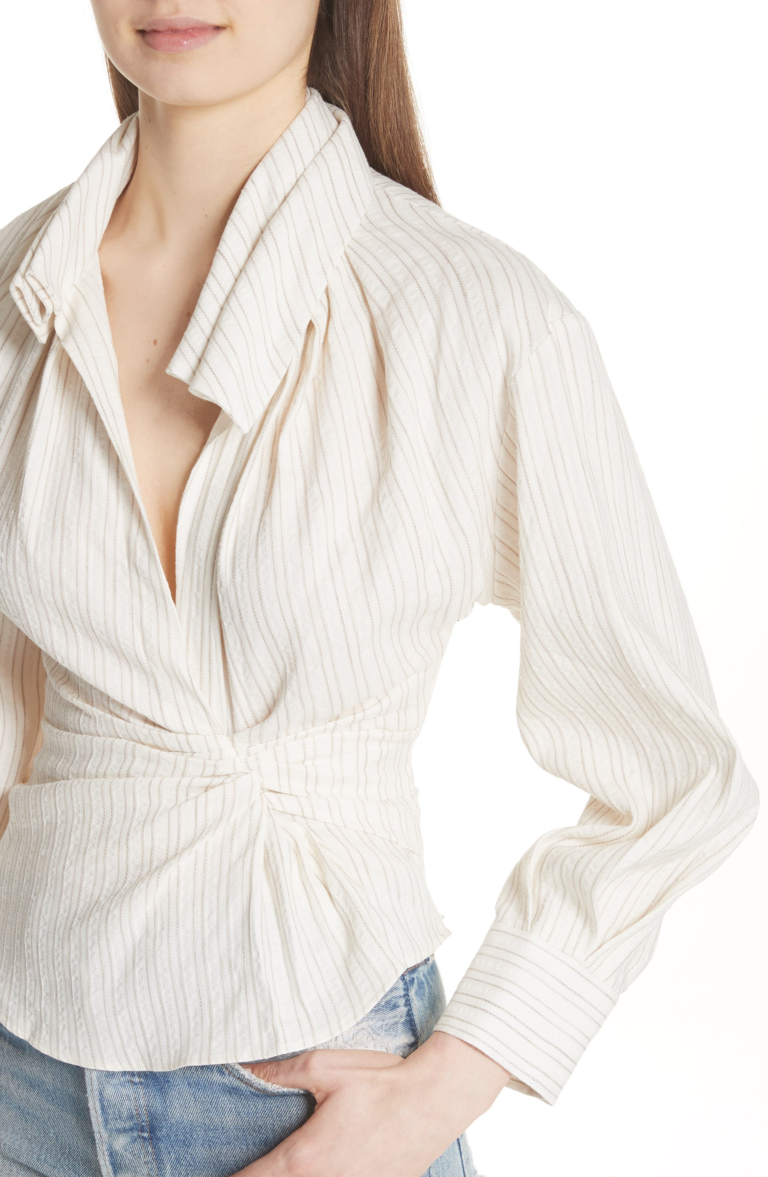 La Chemise Belem Shirt,                             Alternate thumbnail 4, color,                             Beige Striped