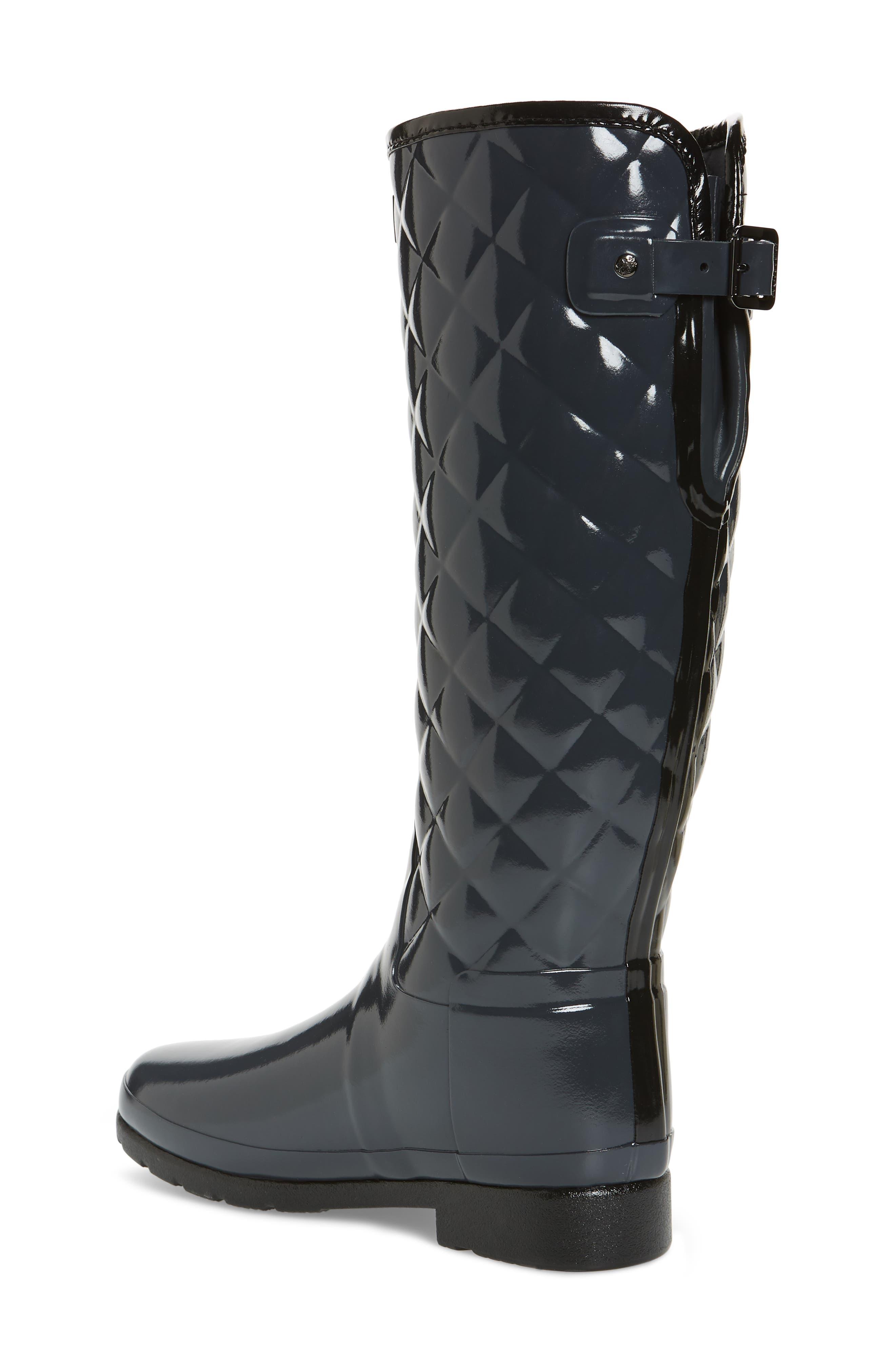 Original Refined High Gloss Quilted Rain Boot,                             Alternate thumbnail 2, color,                             Dark Slate