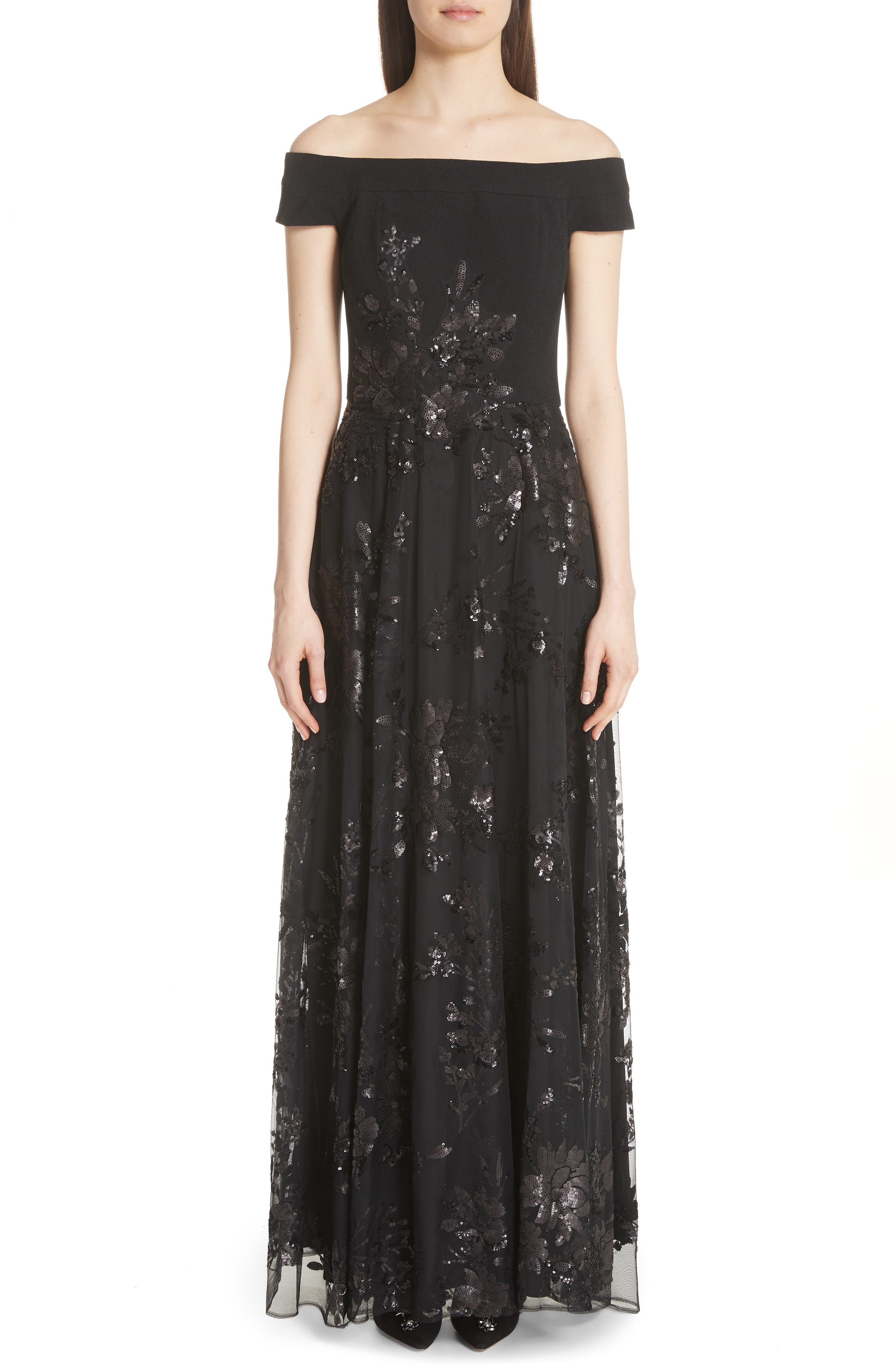 Alternate Image 1 Selected - Carmen Marc Valvo Off the Shoulder Gown