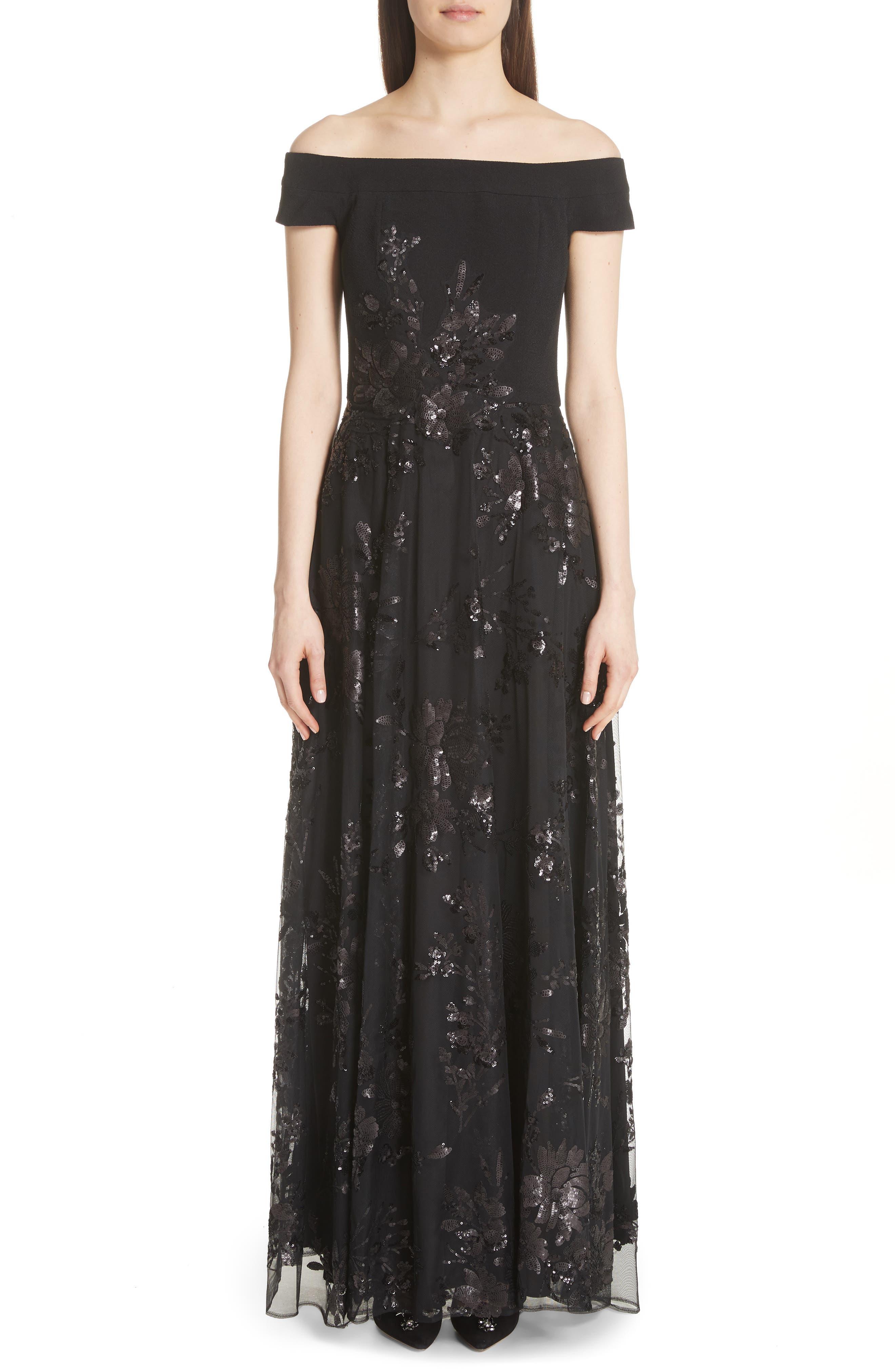 Carmen Marc Valvo Off the Shoulder Gown,                         Main,                         color, Black/ Black