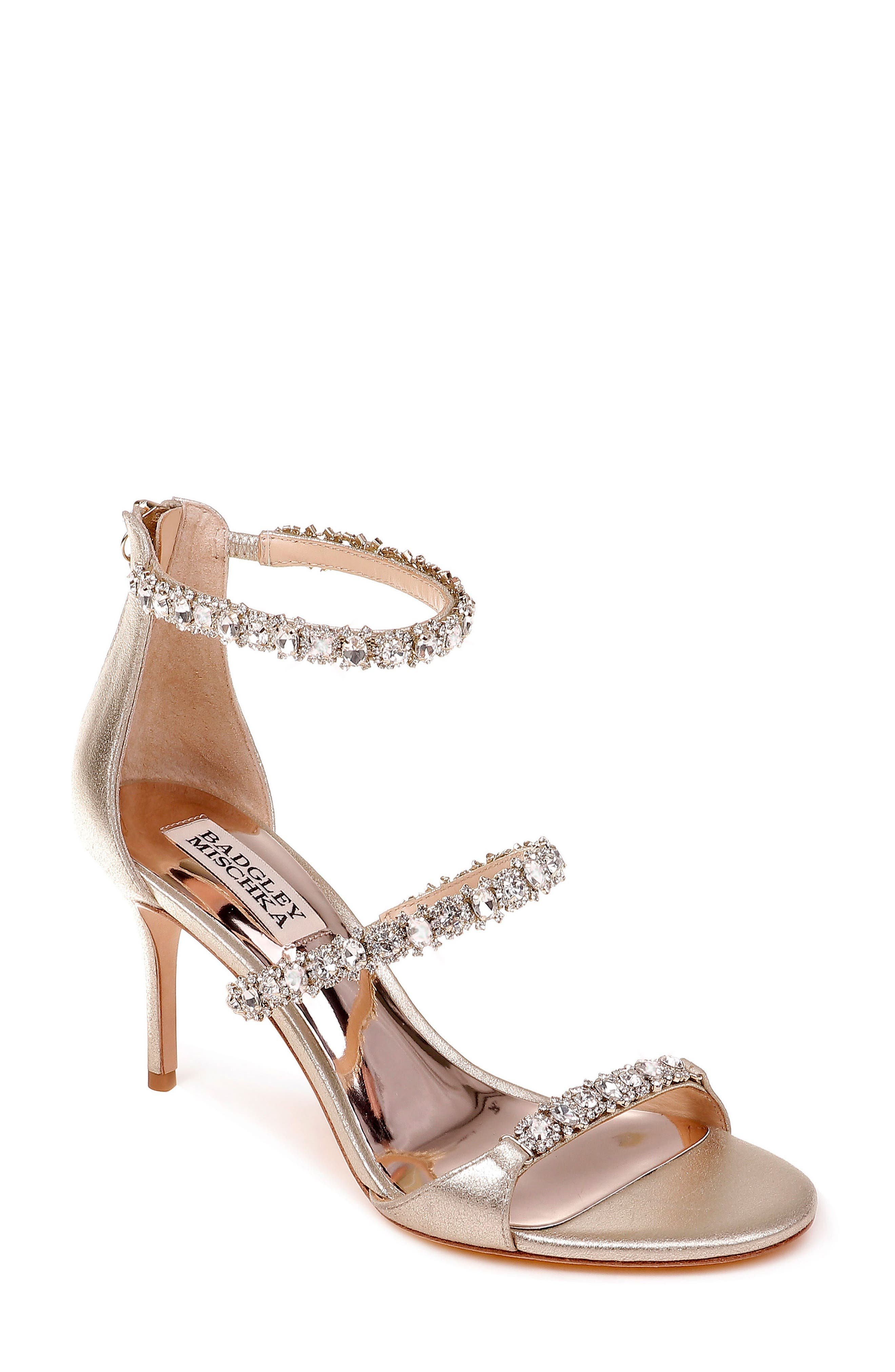 Yasmine Crystal Embellished Sandal,                             Main thumbnail 1, color,                             Latte Satin