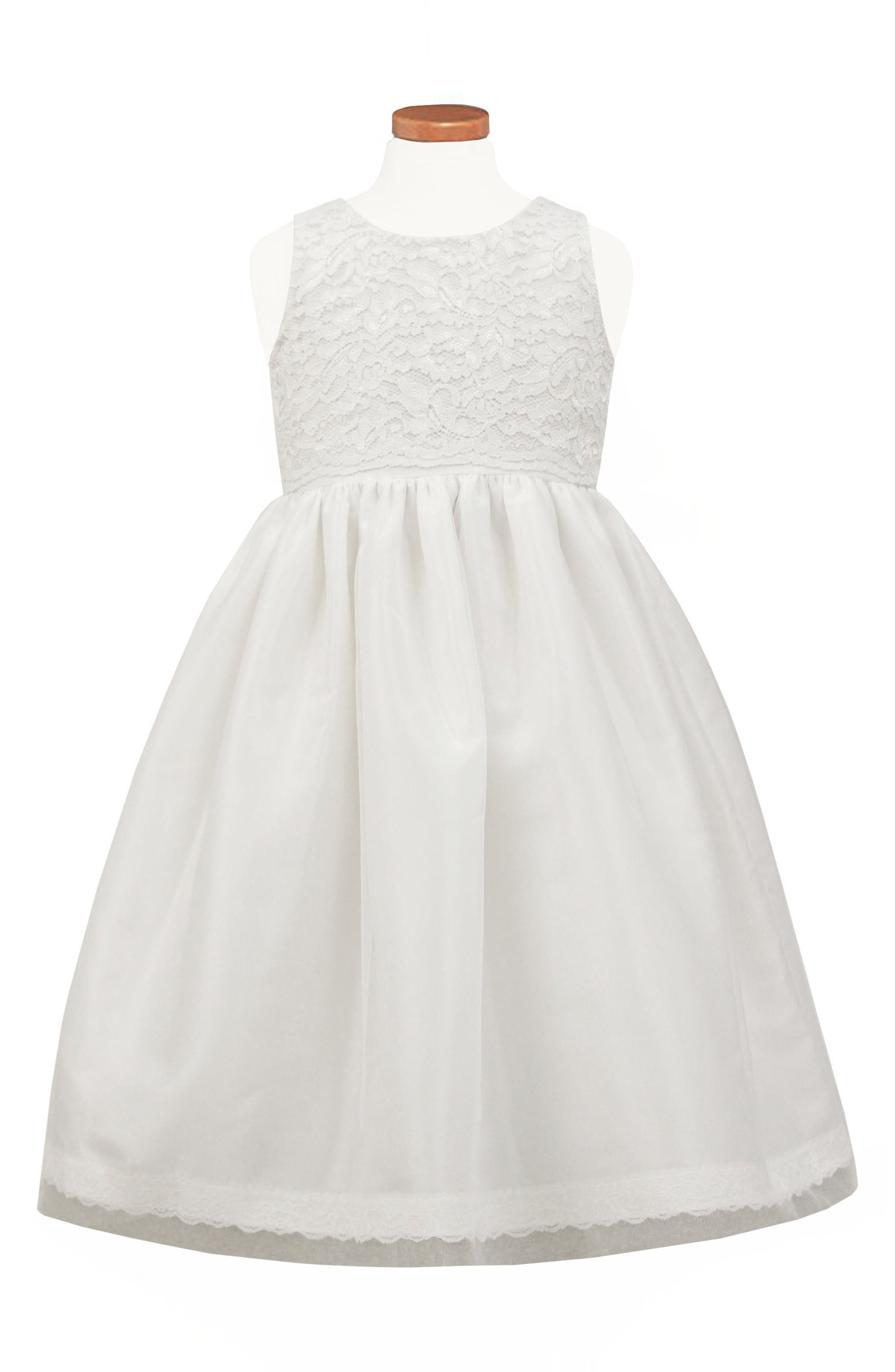 Lace Fit & Flare Dress,                             Main thumbnail 1, color,                             White