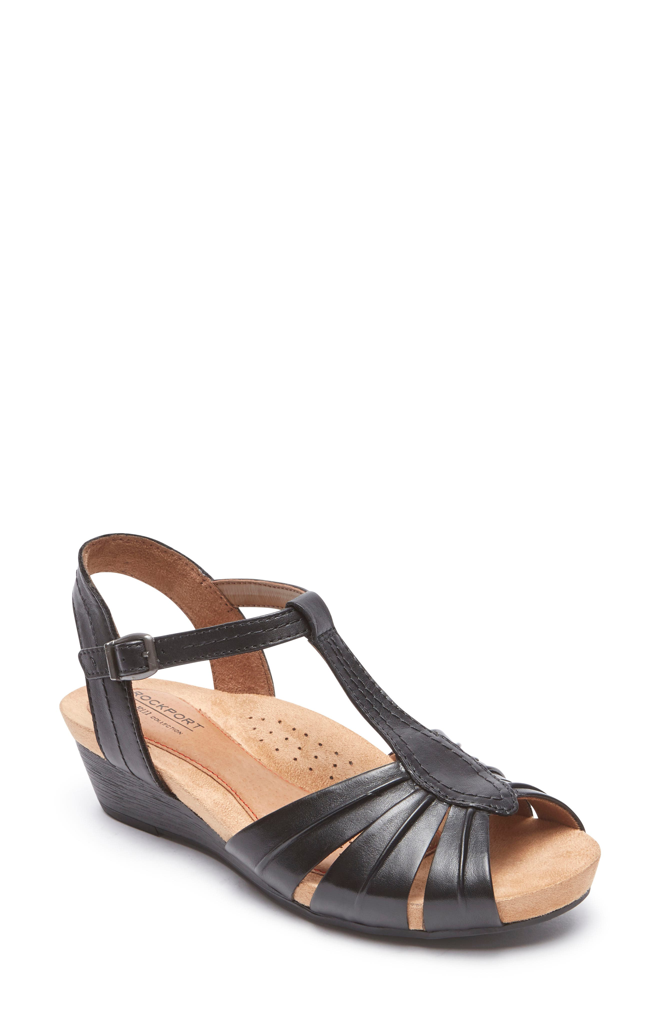 Hollywood Pleat Wedge Sandal,                         Main,                         color, Black Leather