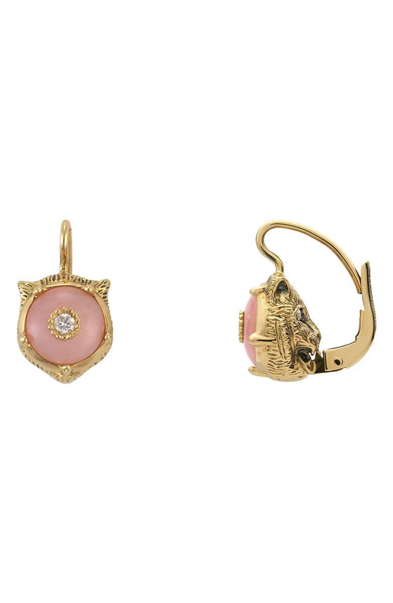 b704a132e40 Gucci 18K Gold Le Marche Des Merveilles Opal Feline Earrings In Yellow Gold   Pink Opal