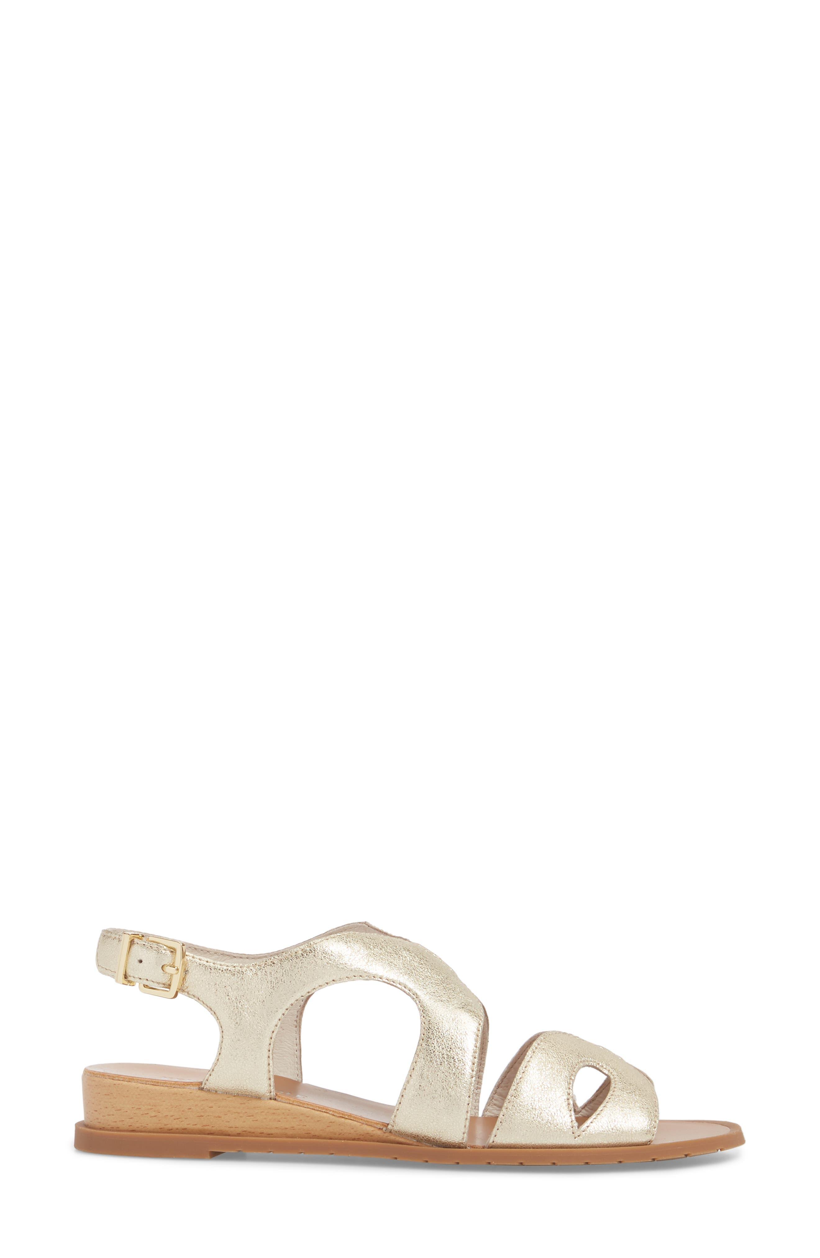 Jules Sandal,                             Alternate thumbnail 3, color,                             Soft Gold Metallic Leather