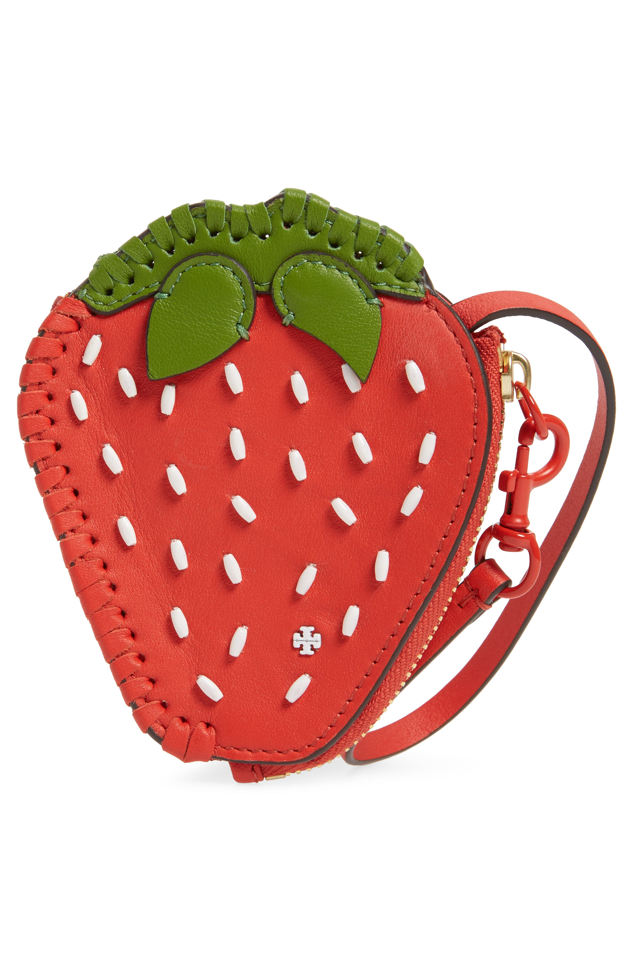Strawberry Leather Coin Pouch,                             Alternate thumbnail 3, color,                             Poppy Orange / Leaf Green