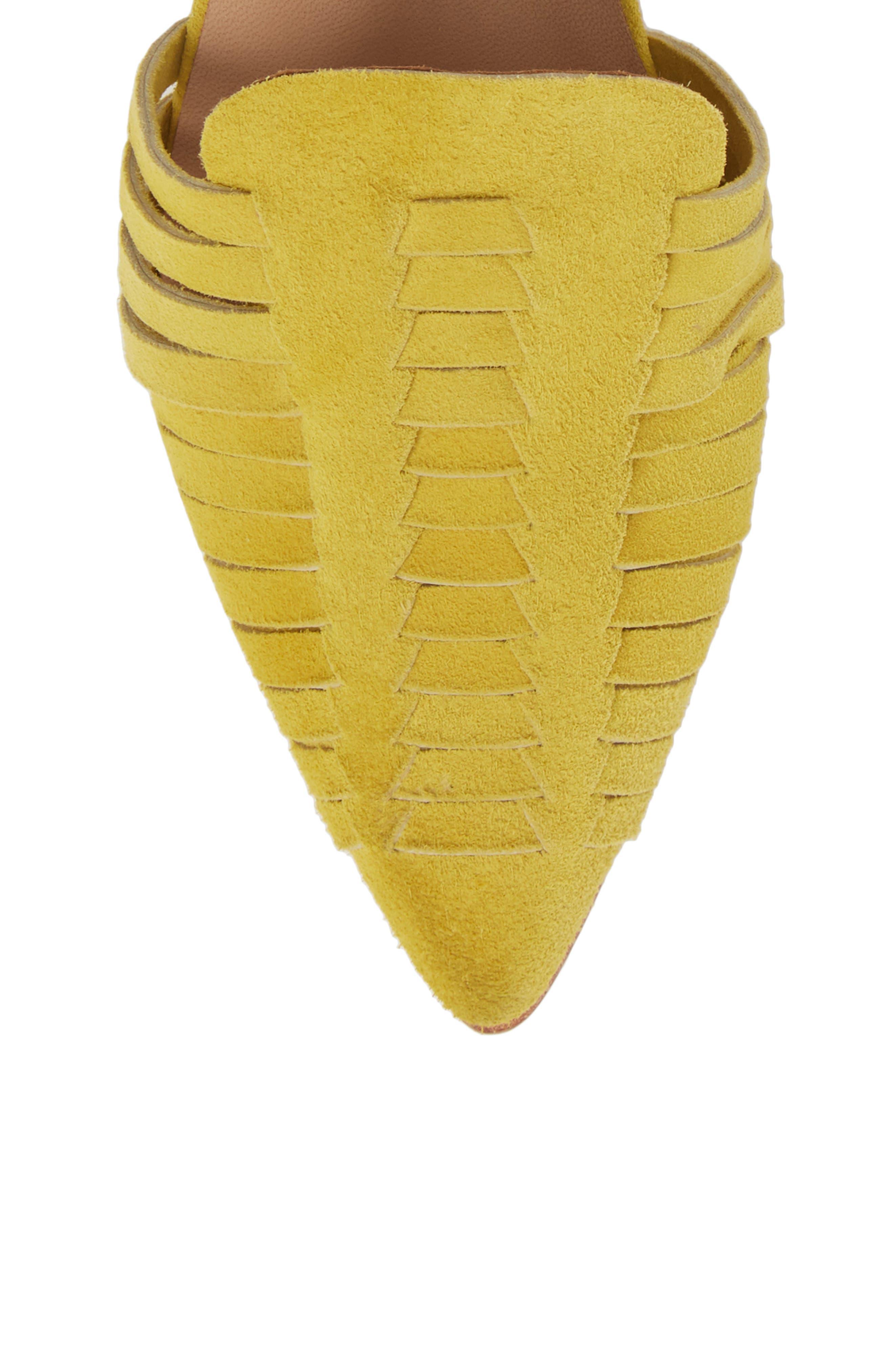 Hollis Huarache Ankle Tie Flat,                             Alternate thumbnail 5, color,                             Citron Suede