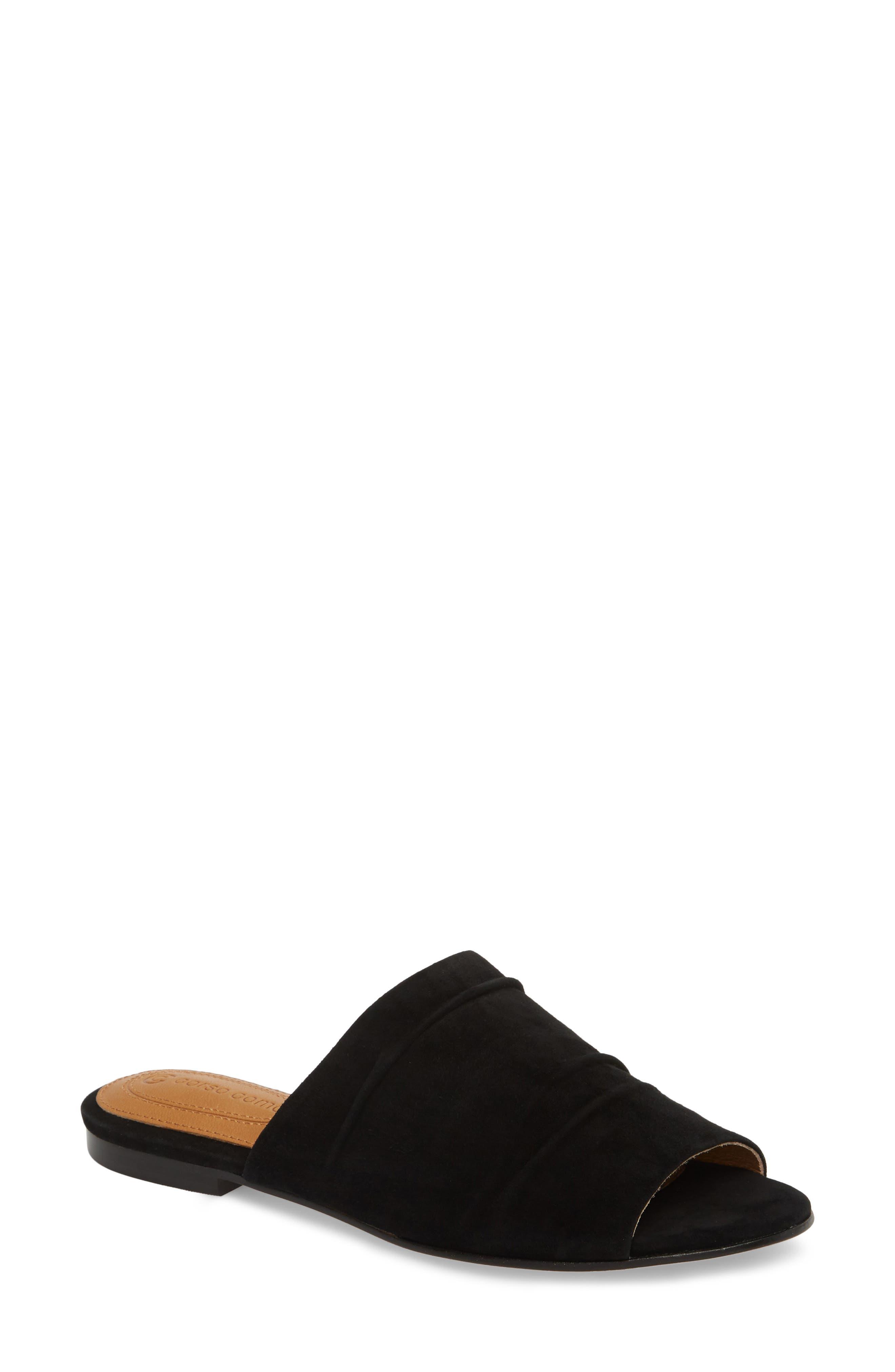 Beachaven Slide Sandal,                         Main,                         color, Black Suede