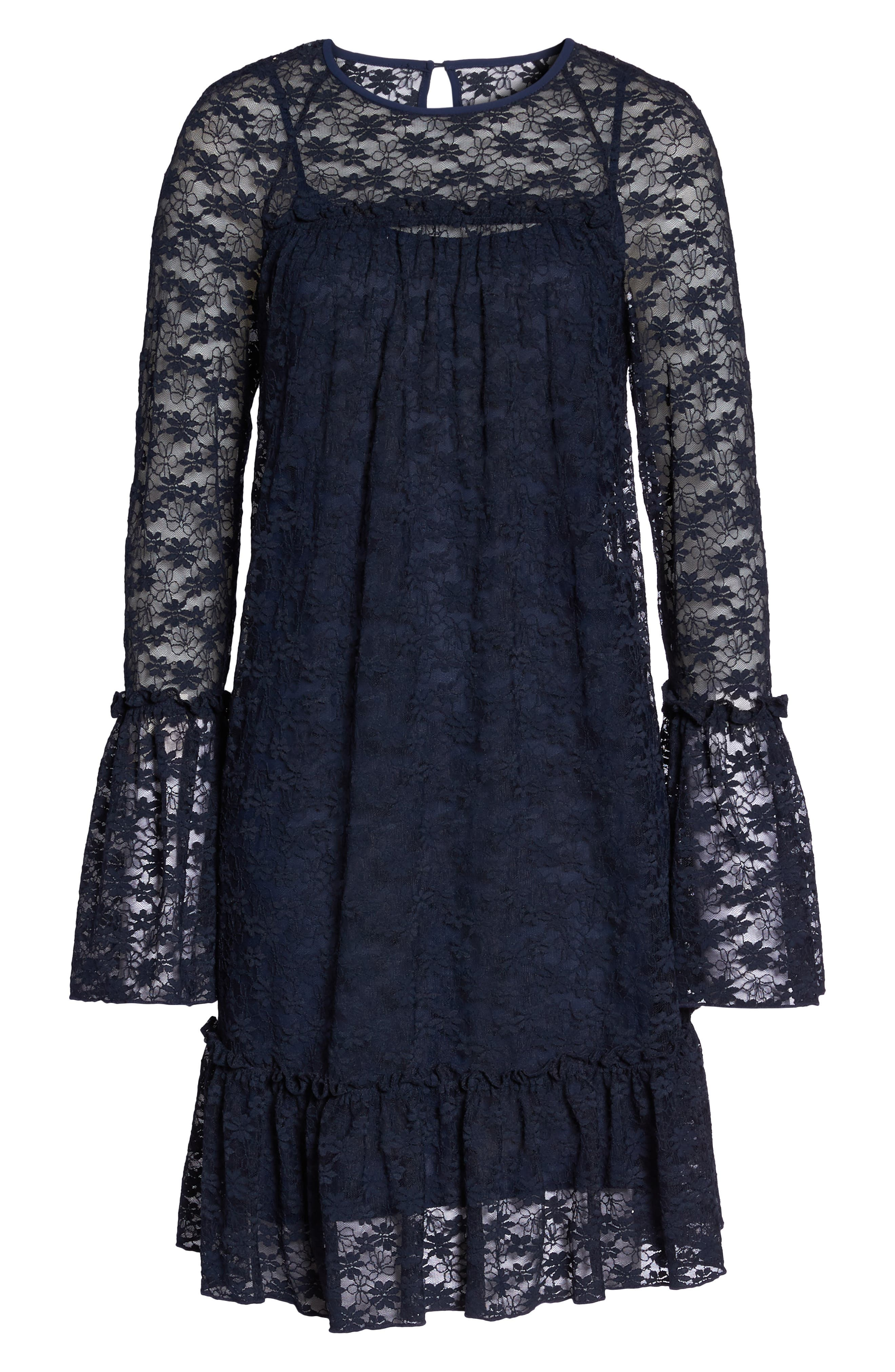 Flare Cuff Lace Dress,                             Alternate thumbnail 7, color,                             True Navy