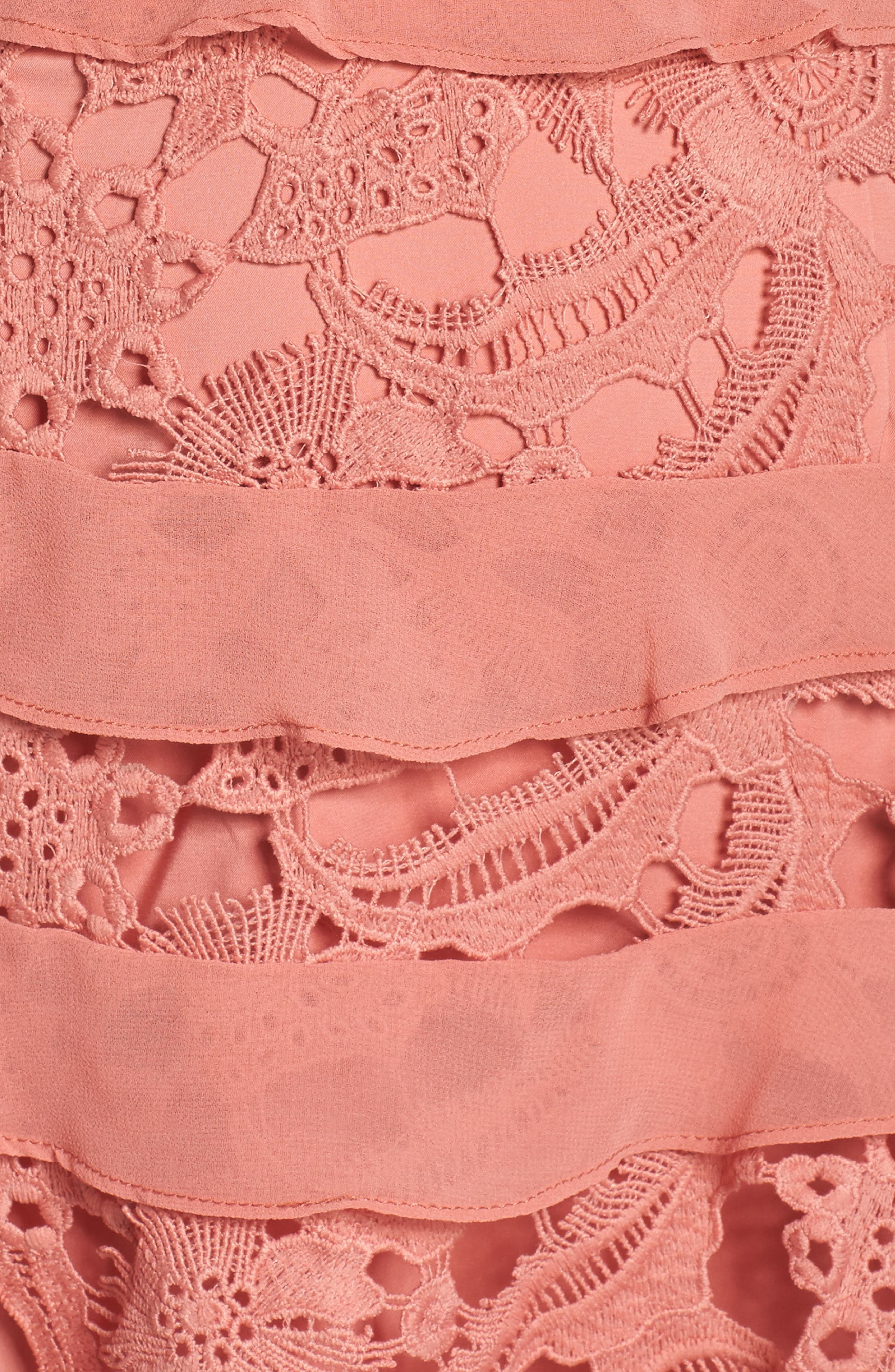 Lace Parfait Minidress,                             Alternate thumbnail 5, color,                             Dusty Rose