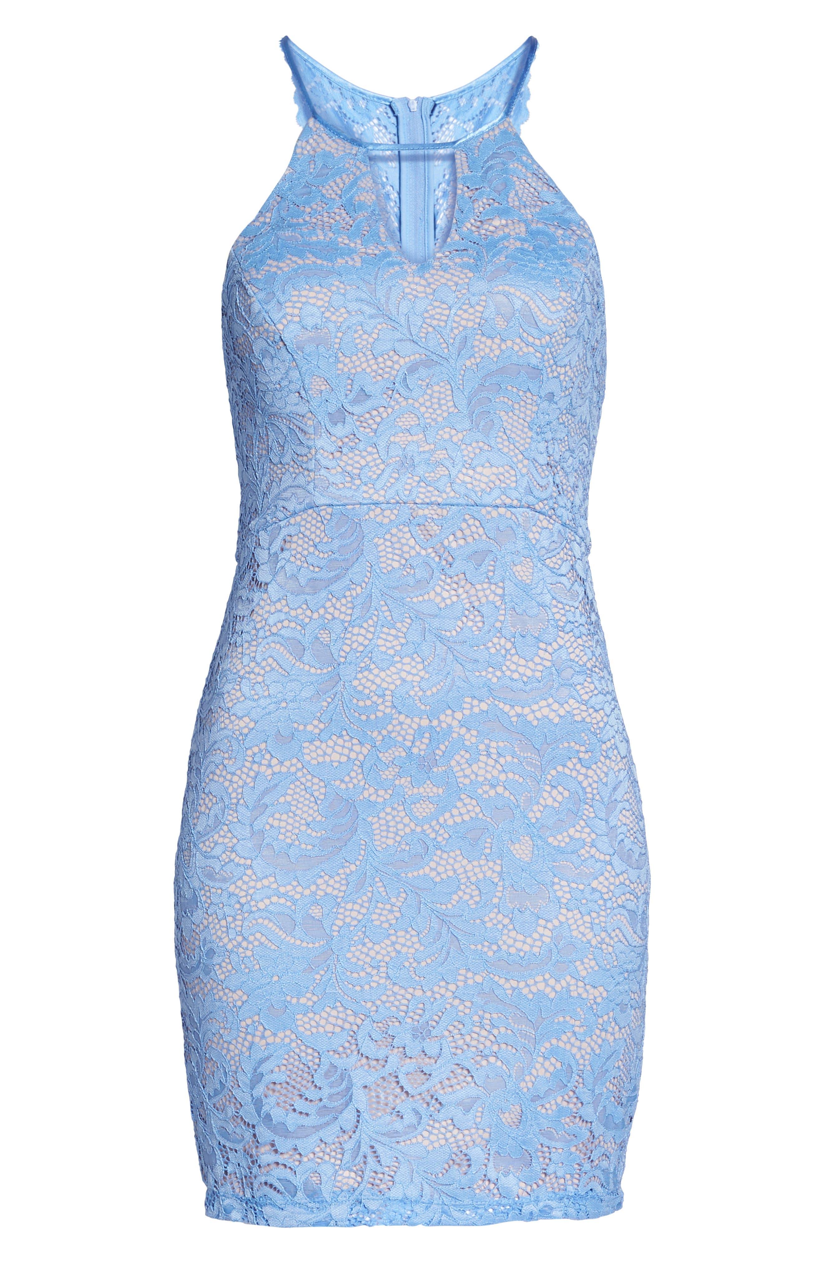 Racerback Lace Halter Dress,                             Alternate thumbnail 6, color,                             Periwinkle/ Mauve