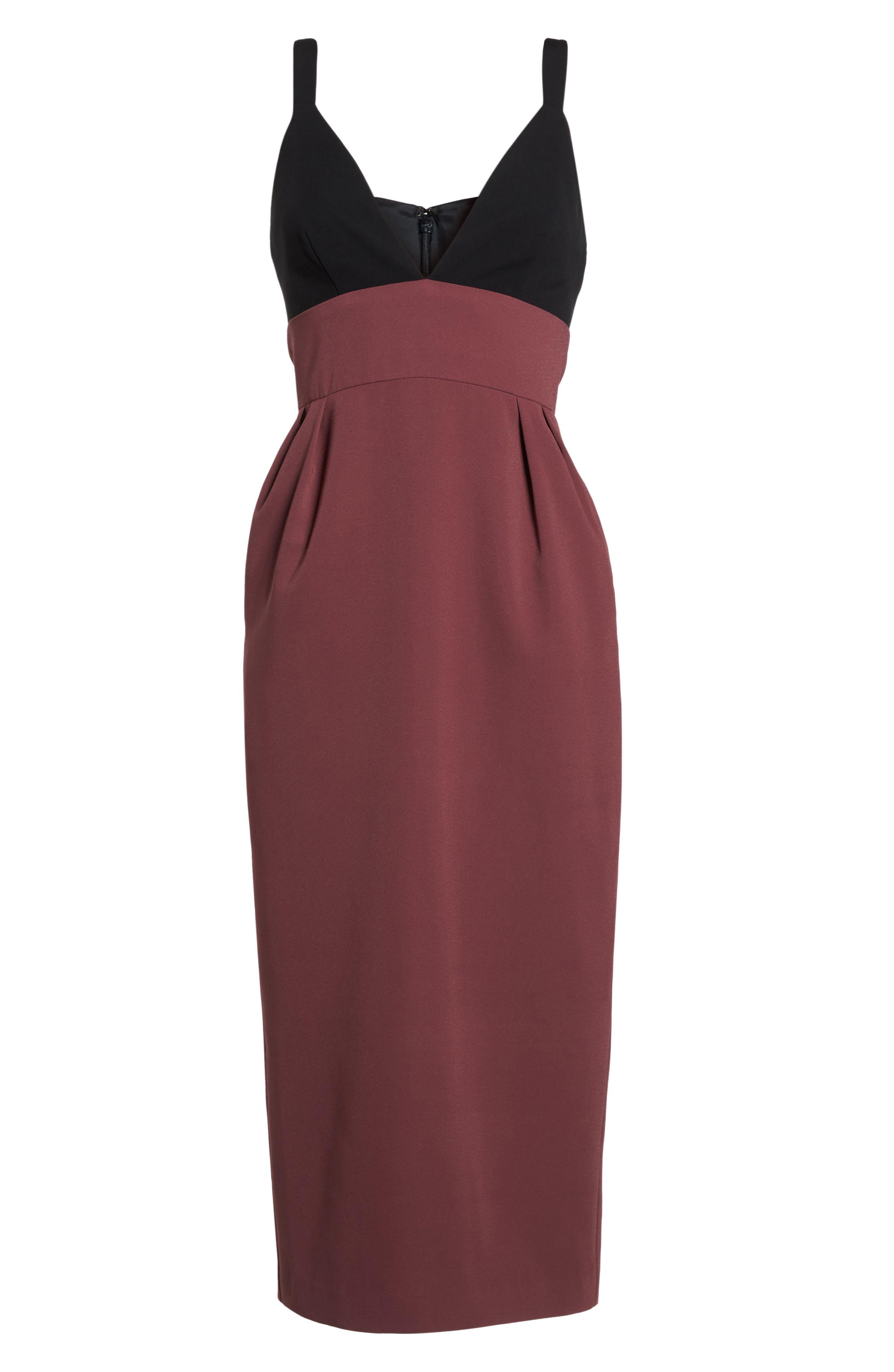 Colorblock Midi Dress,                             Alternate thumbnail 6, color,                             Black/ Pandora
