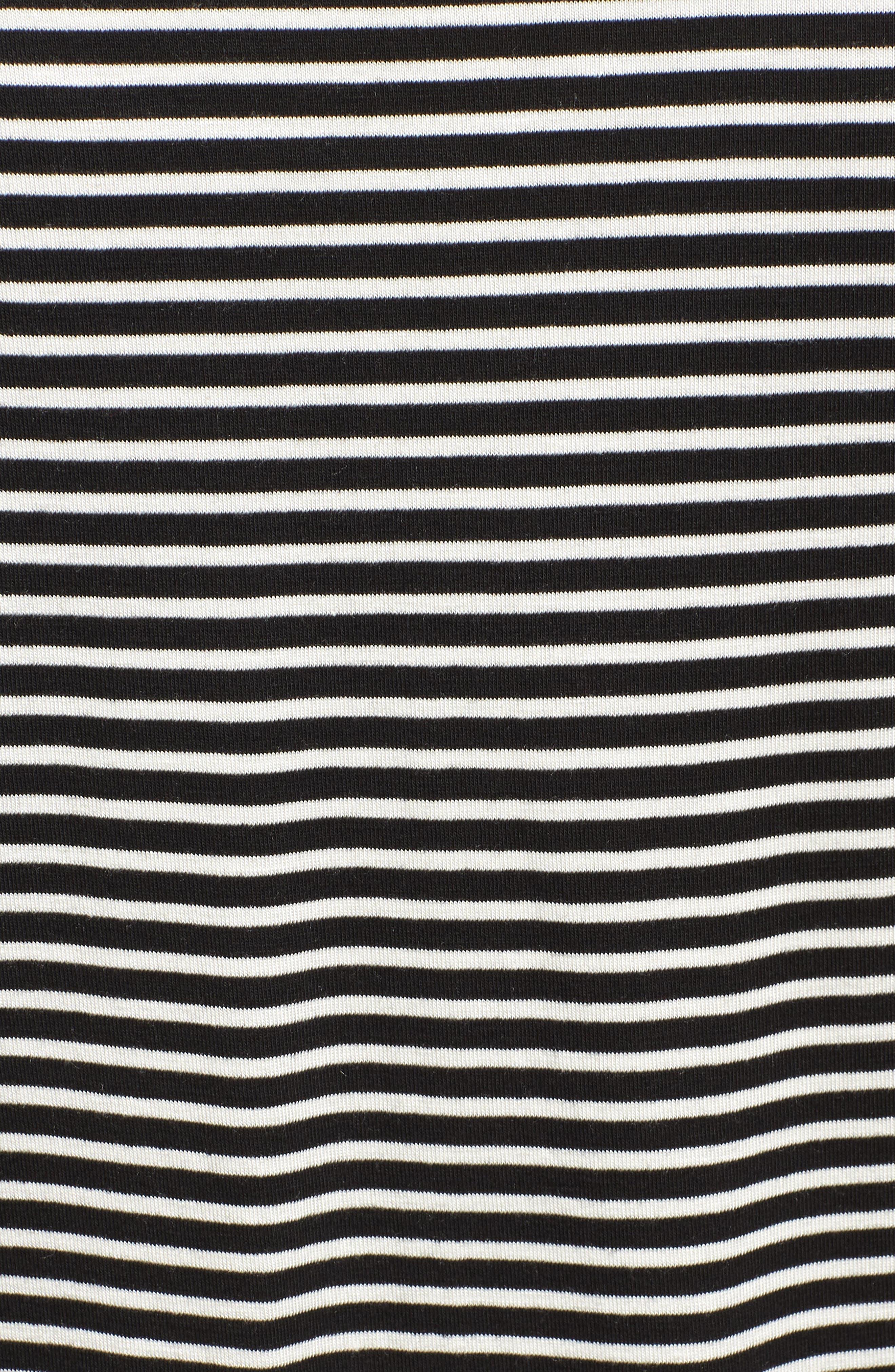 Knit Bubble Sleeve Tee,                             Alternate thumbnail 6, color,                             Black/ Ivory