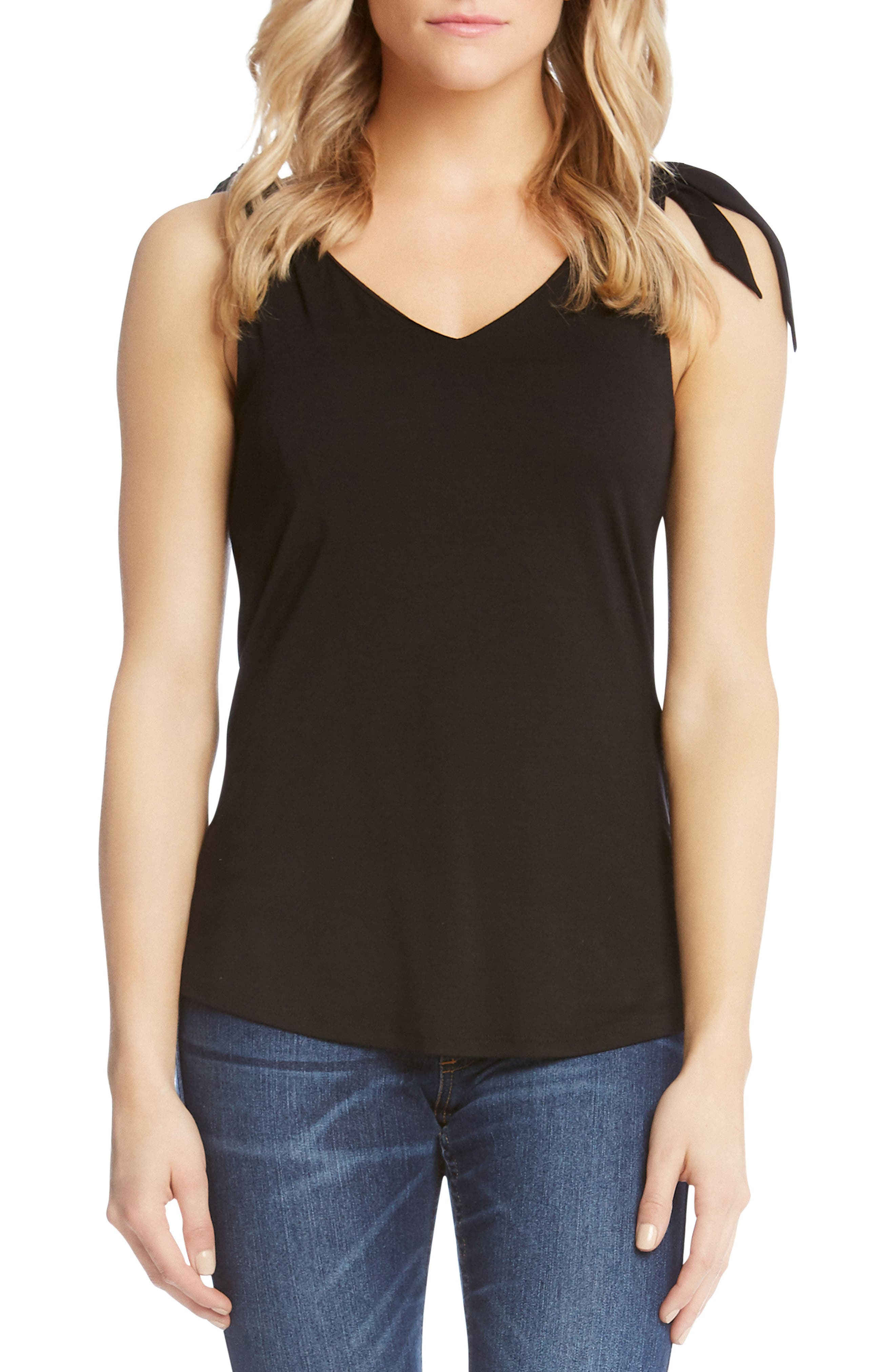 Bow Strap Stretch Jersey Tank,                         Main,                         color, Black With Embroidery