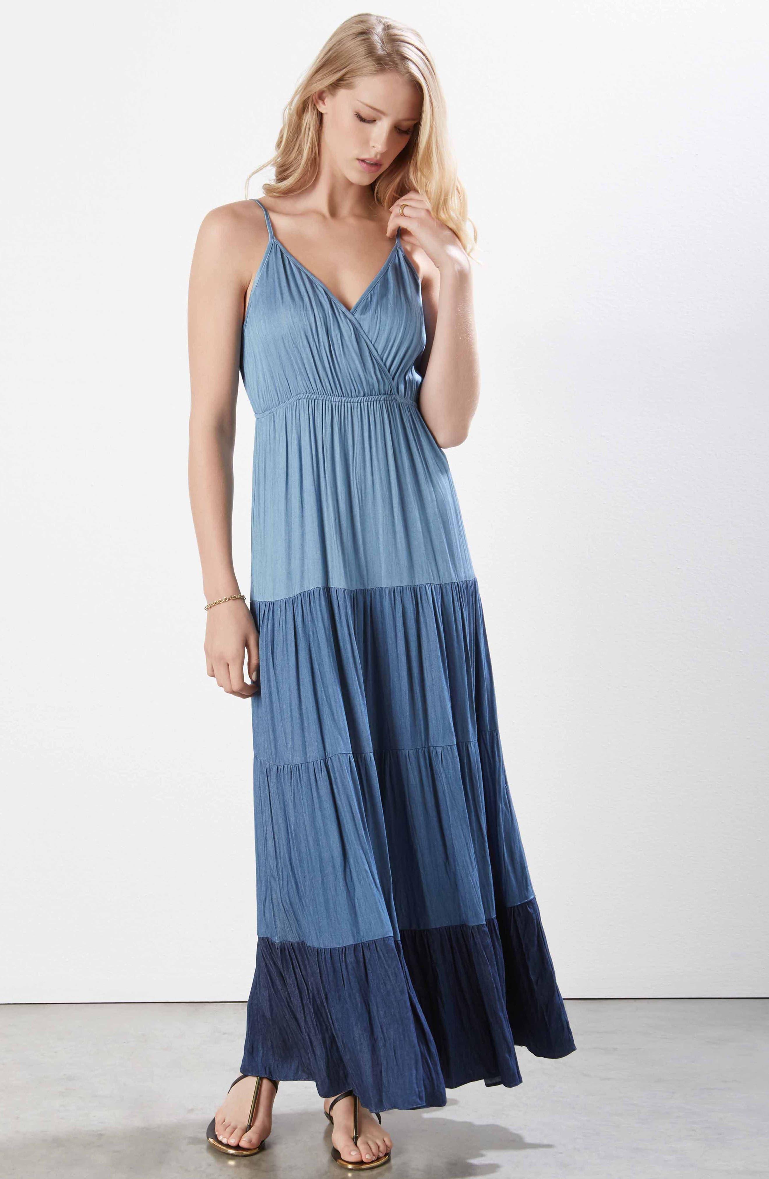 Tiered Chambray Maxi Dress,                             Alternate thumbnail 2, color,