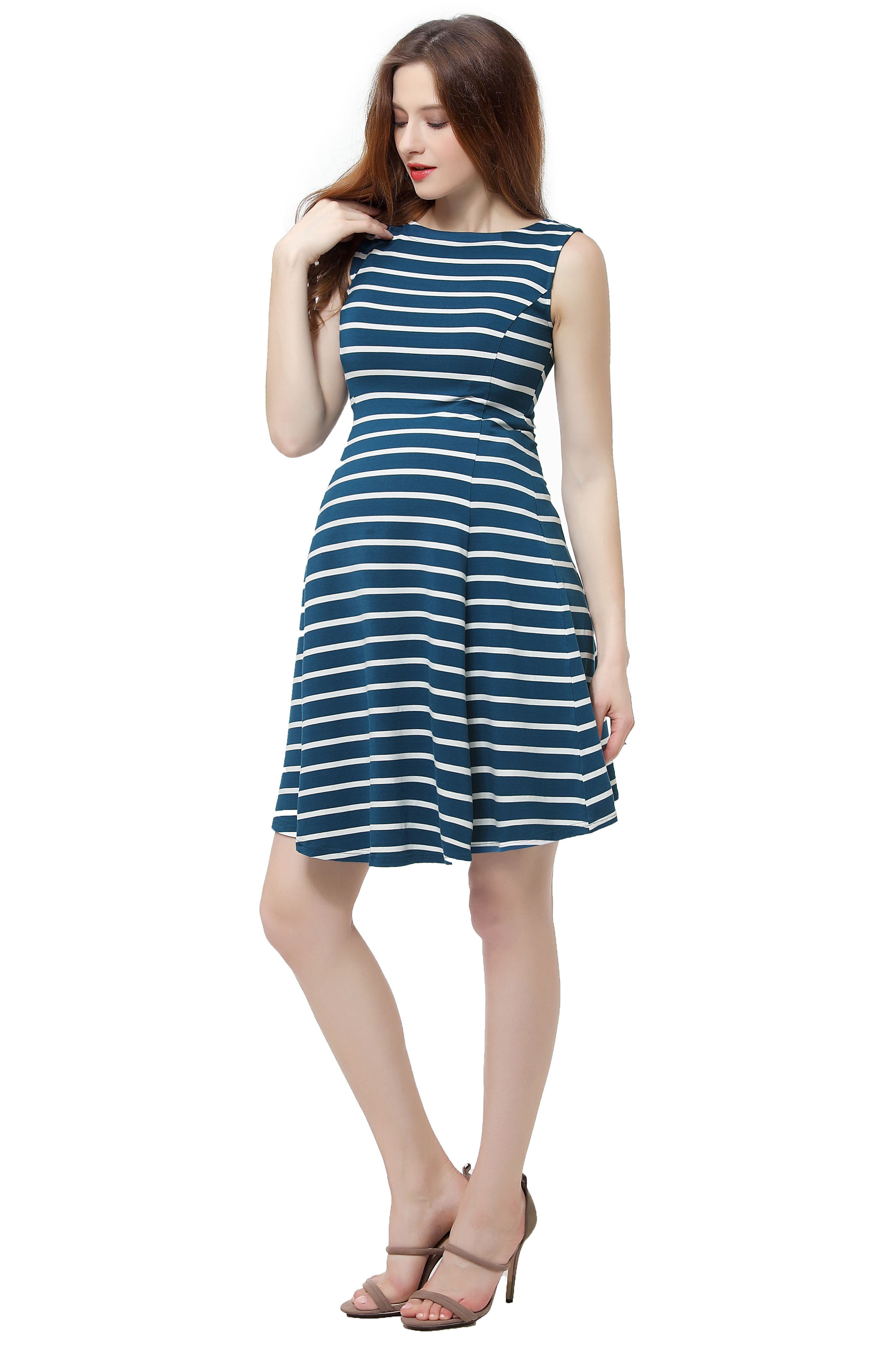 Emilia Stripe Fit & Flare Maternity Dress,                             Alternate thumbnail 4, color,