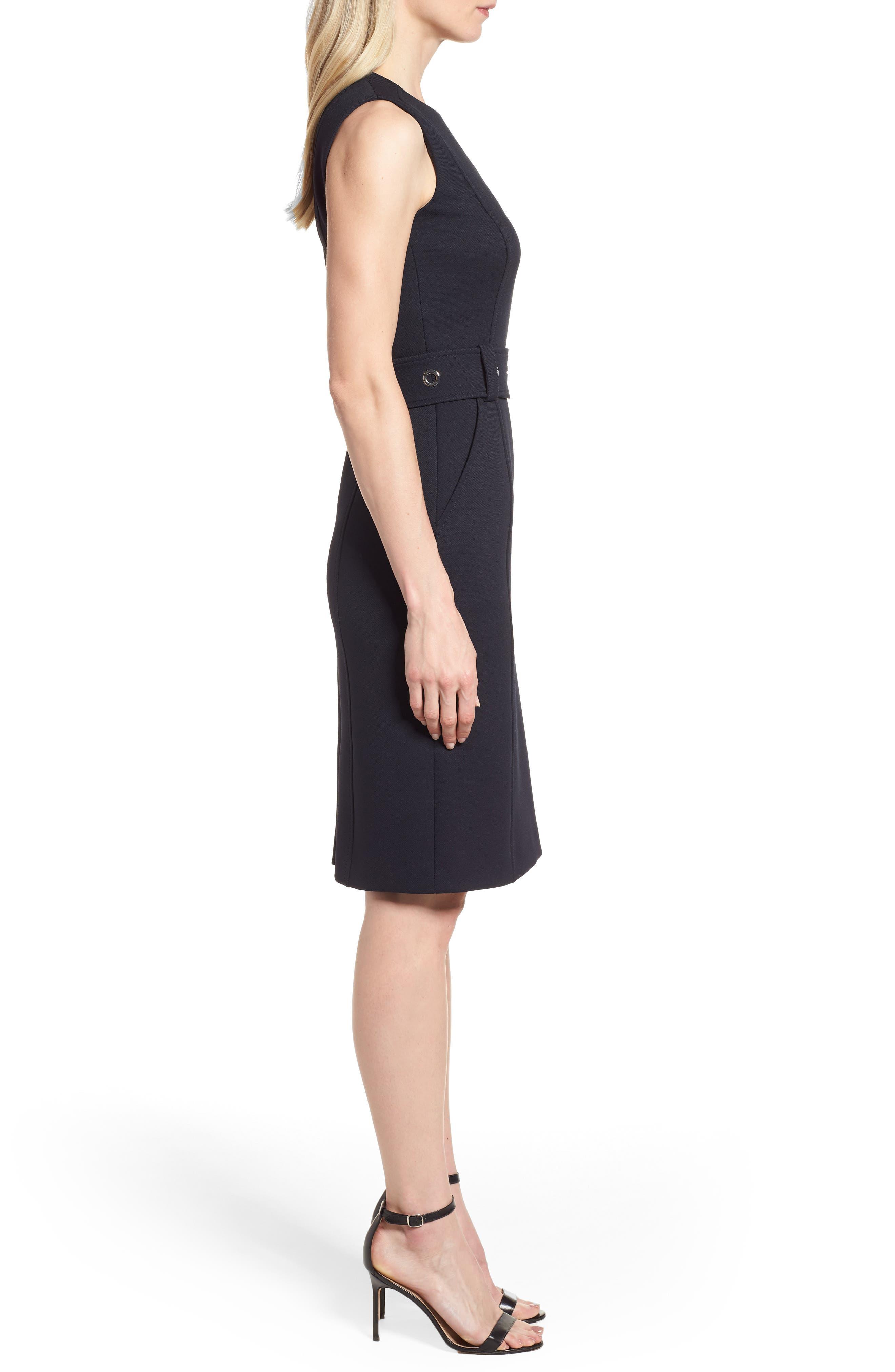 Duleama Belted Sheath Dress,                             Alternate thumbnail 3, color,                             Navy