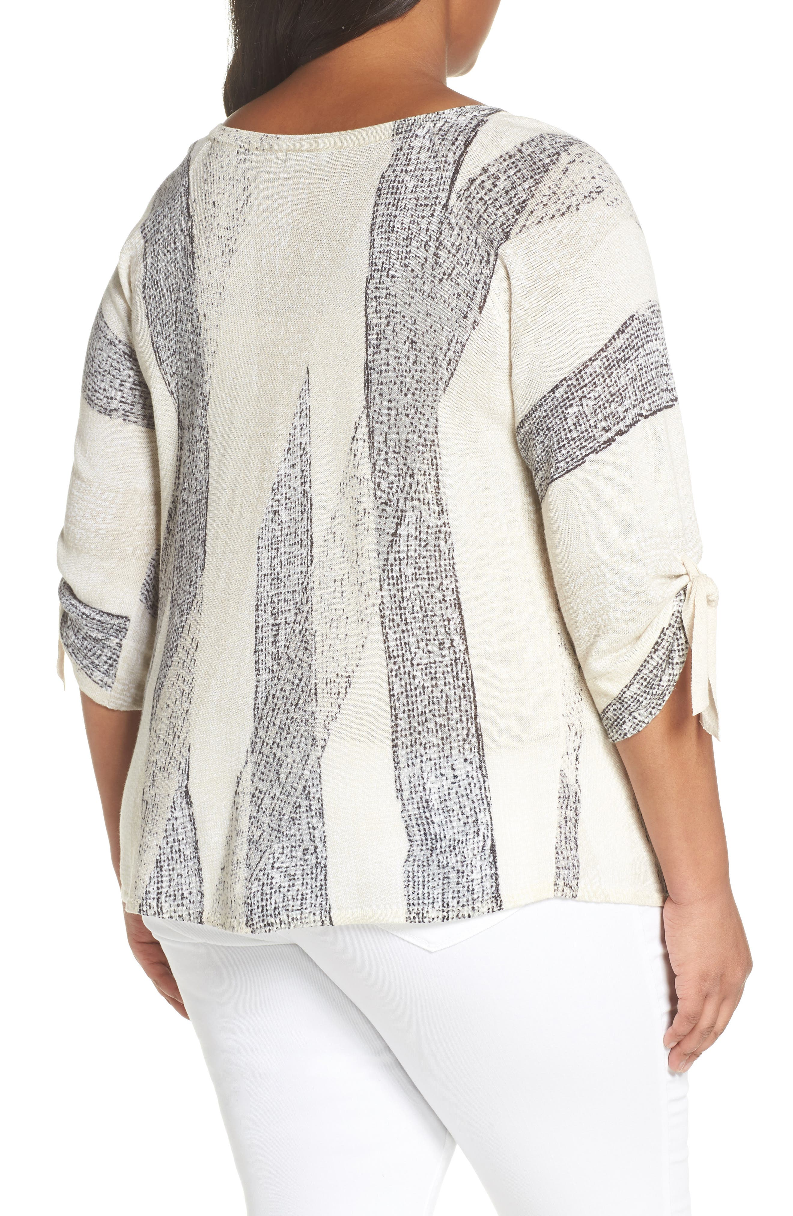 Alternate Image 2  - NIC+ZOE Tiled Ties Linen Blend Top (Plus Size)