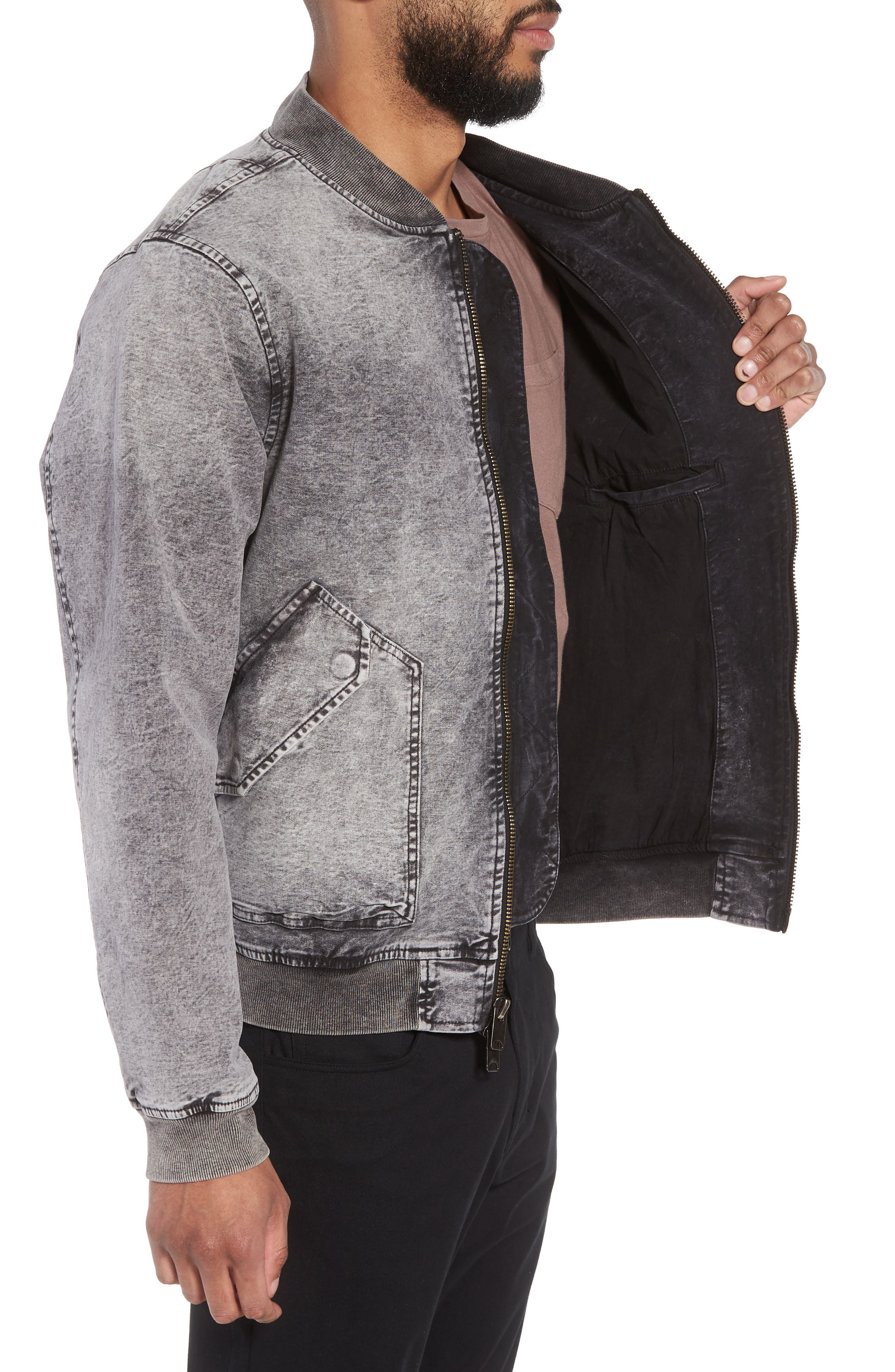Hudson Regular Fit Bomber Jacket,                             Alternate thumbnail 3, color,                             Mineral Black