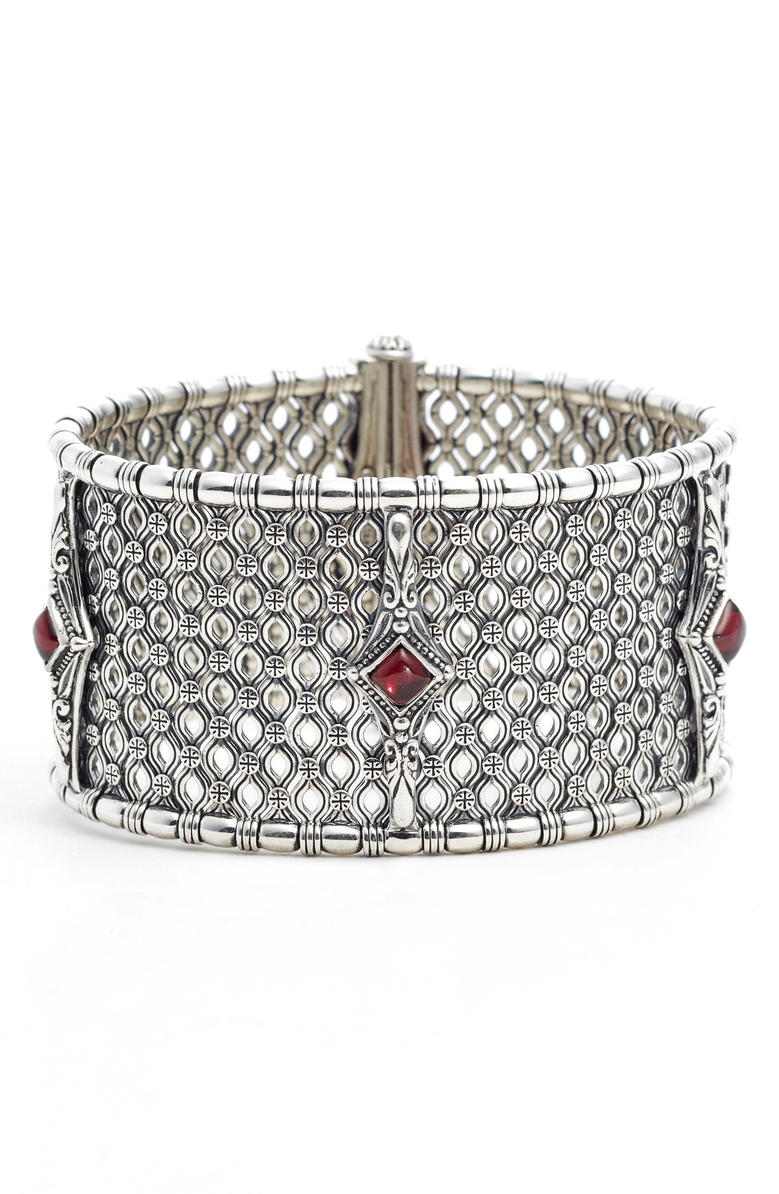 Etched Silver & Rhodolite Garnet Cuff Bracelet,                             Main thumbnail 1, color,                             Silver/ Gold/ White