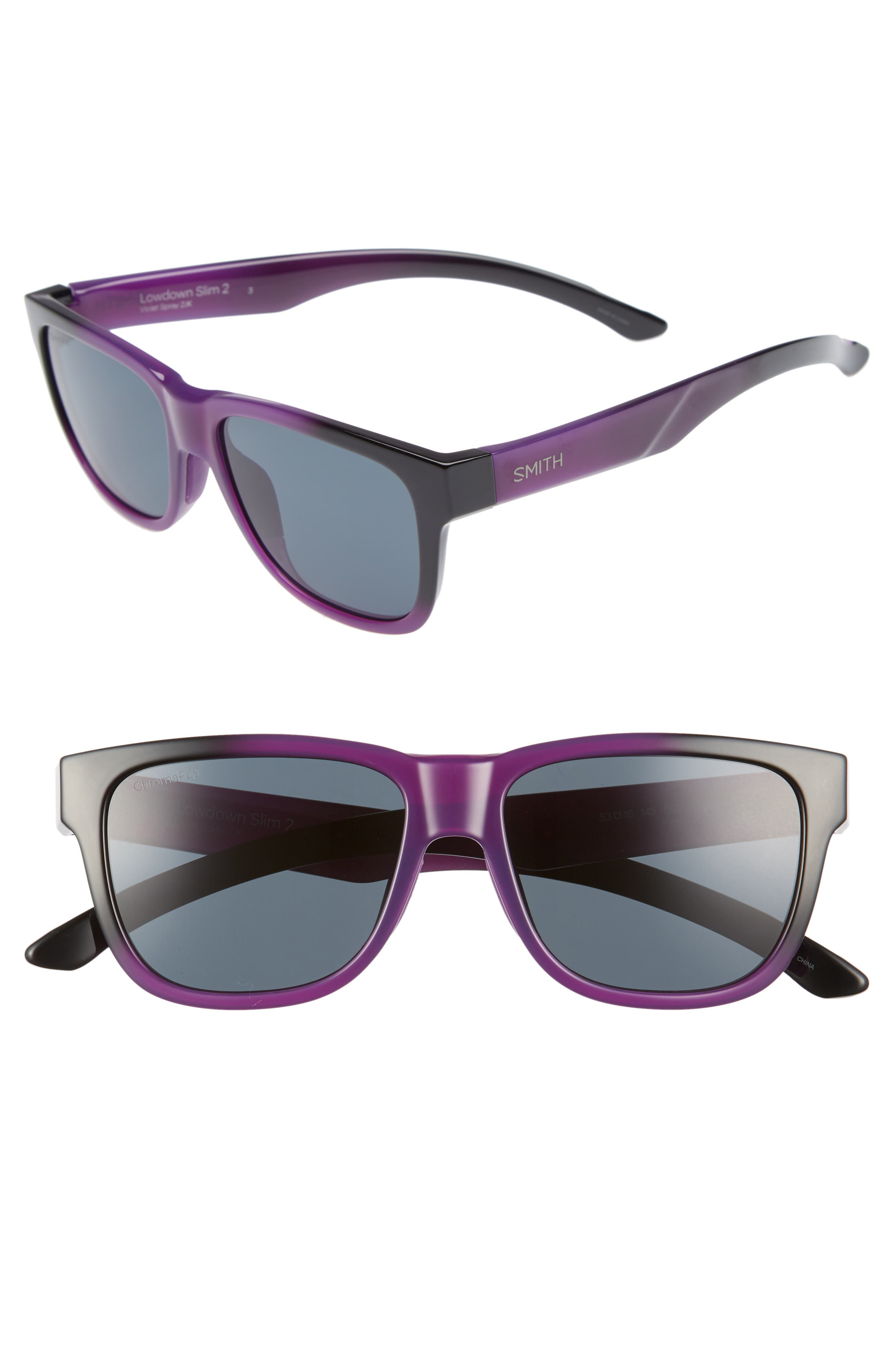 Lowdown Slim 2 53mm ChromaPop<sup>™</sup> Square Sunglasses,                             Main thumbnail 1, color,                             Violet Spray